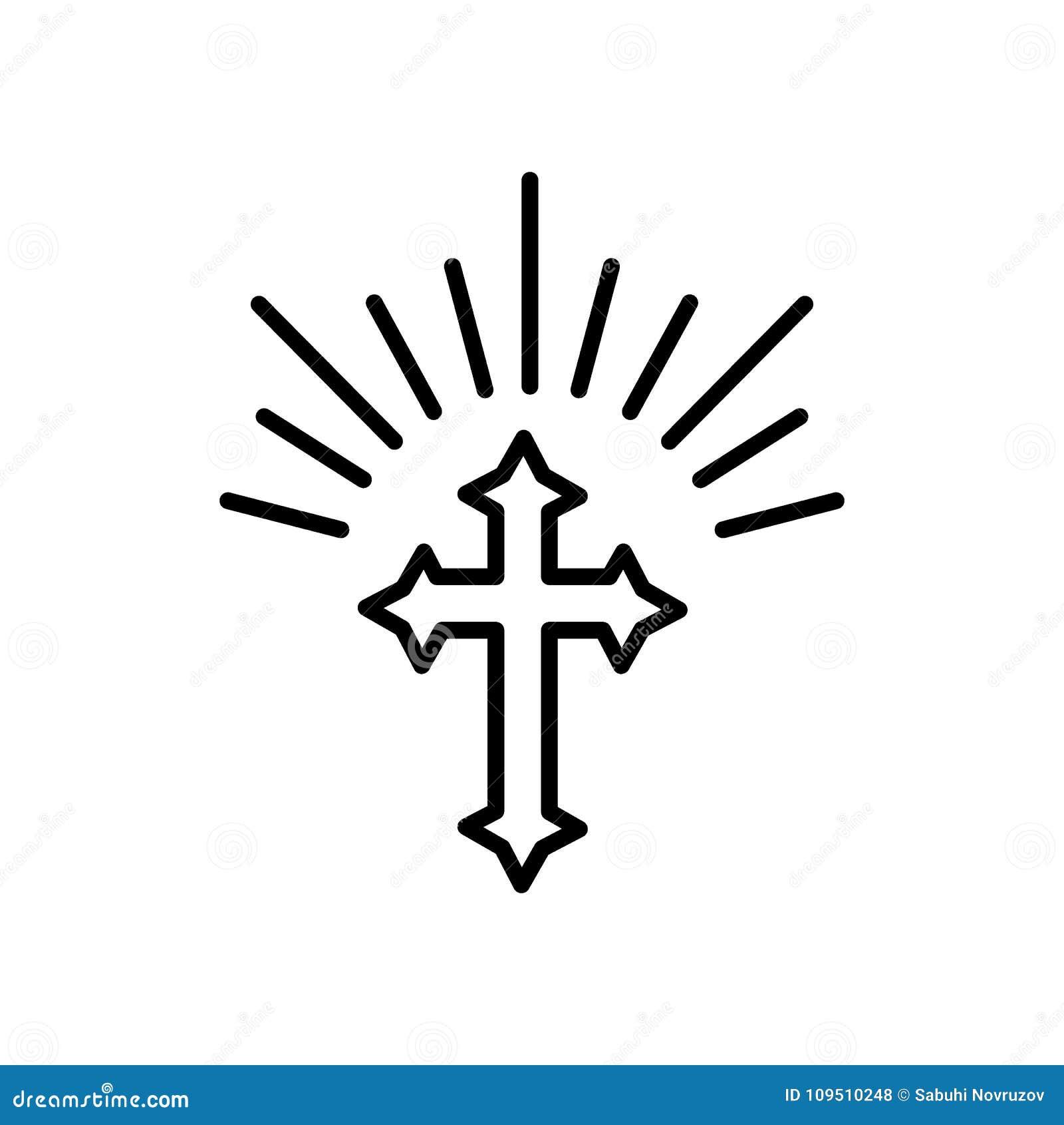 Sylwetka Ozdobny Krzyz Z Slonc Swiatlami Szczesliwa Wielkanocna