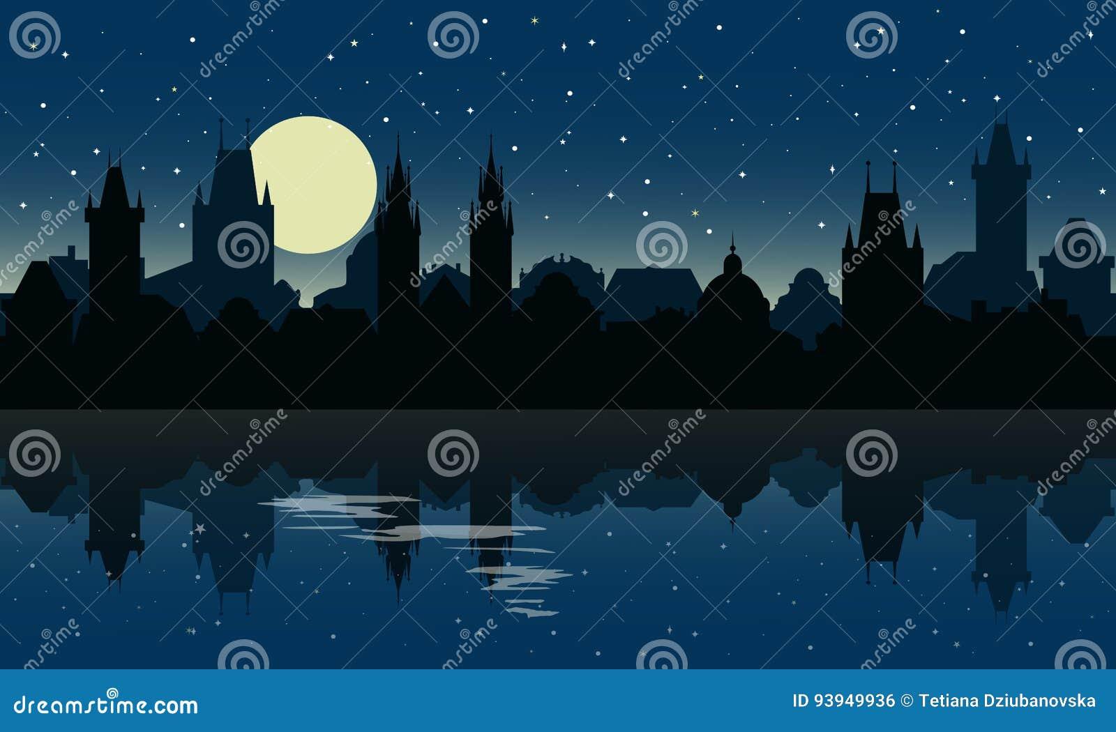 Sylwetka Praga przy nocą Miasto linia horyzontu z odbiciem w wodzie