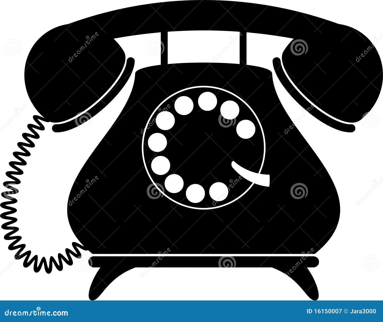 Sylwetka retro telefon
