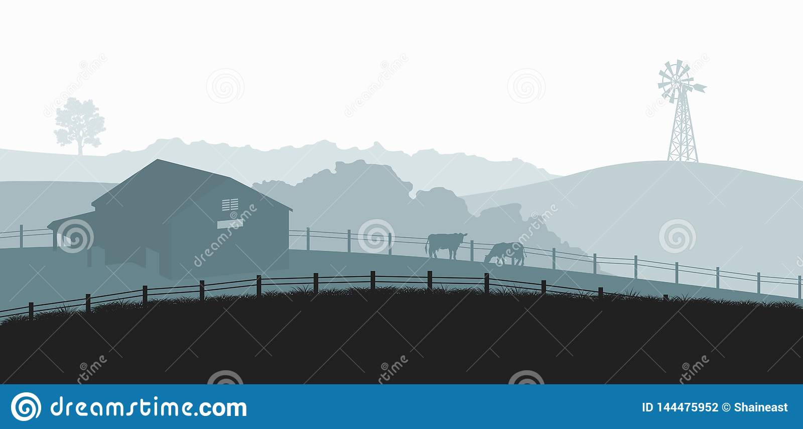 Sylwetki gospodarstwo rolne krajobraz Wiejska panorama runch z krową na łące Wioski sceneria dla plakata Rolnika dom
