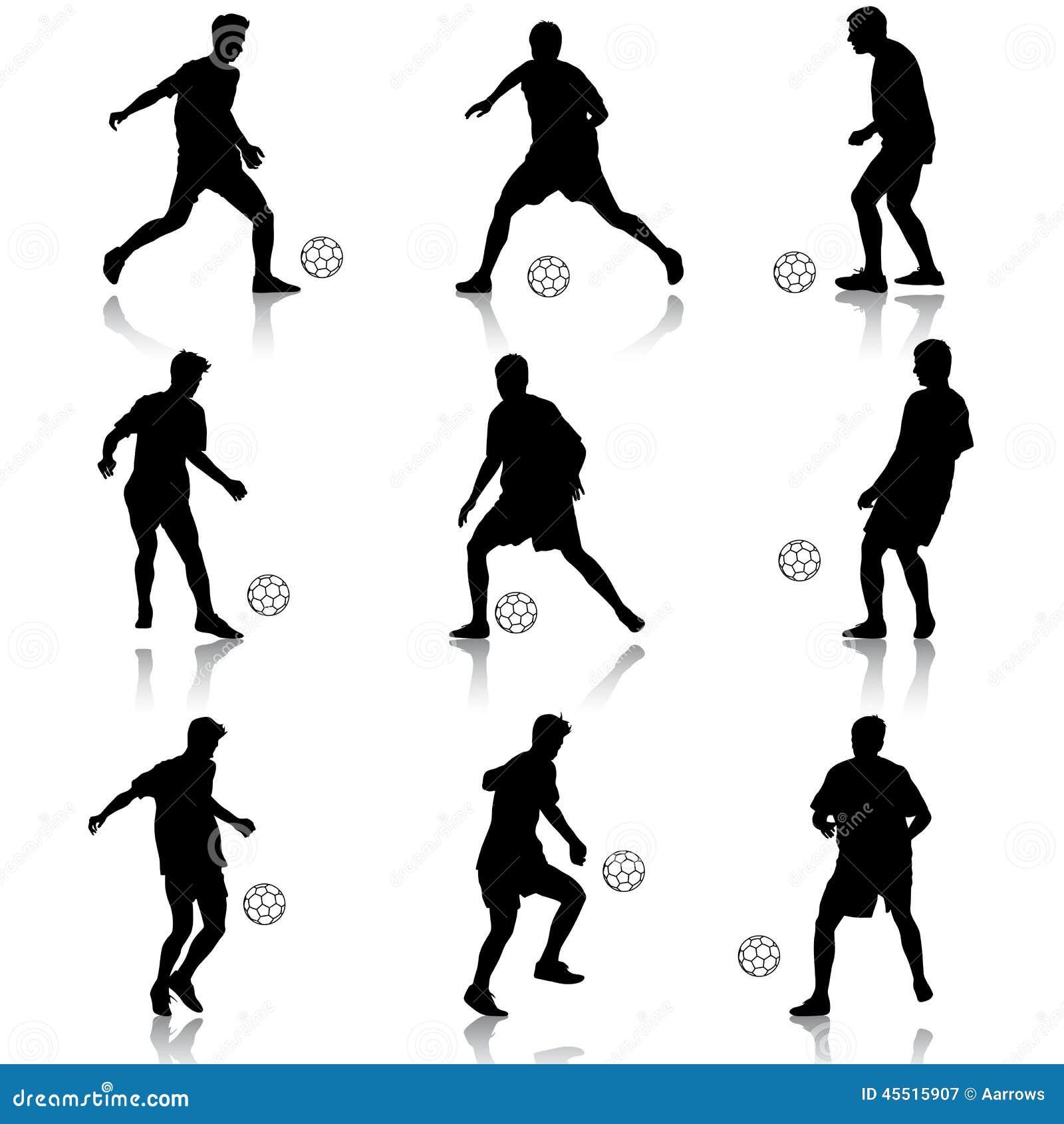 Sylwetki gracze piłki nożnej z piłką