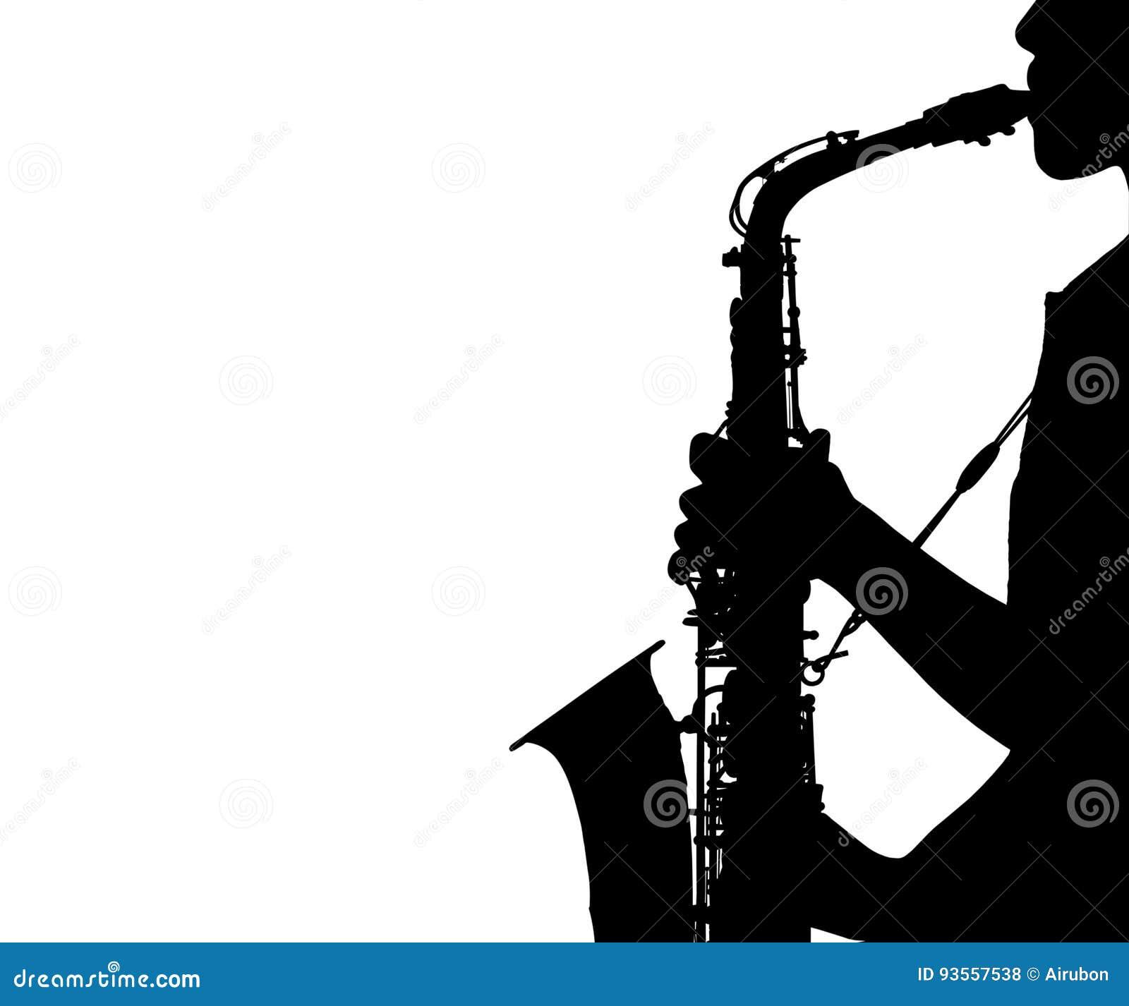 Sylwetki kobieta bawić się saksofon odizolowywającego na białym tle