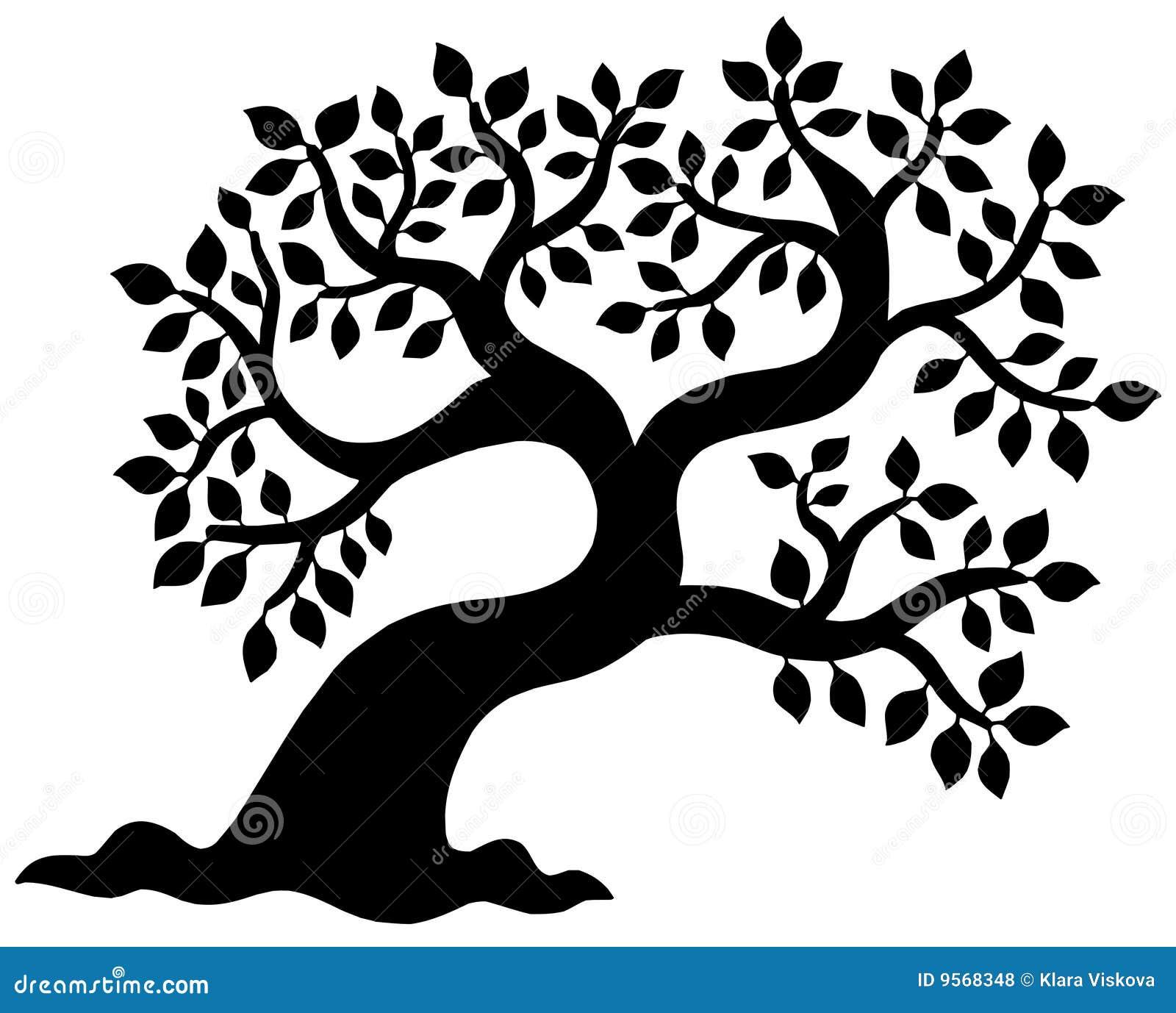 Sylwetki obfitolistny drzewo