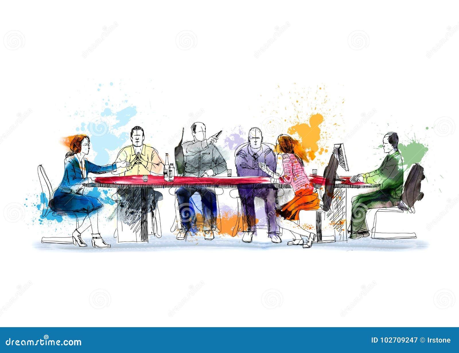 Sylwetki pomyślni ludzie biznesu pracuje na spotkaniu Nakreślenie z colourful wodnym colour