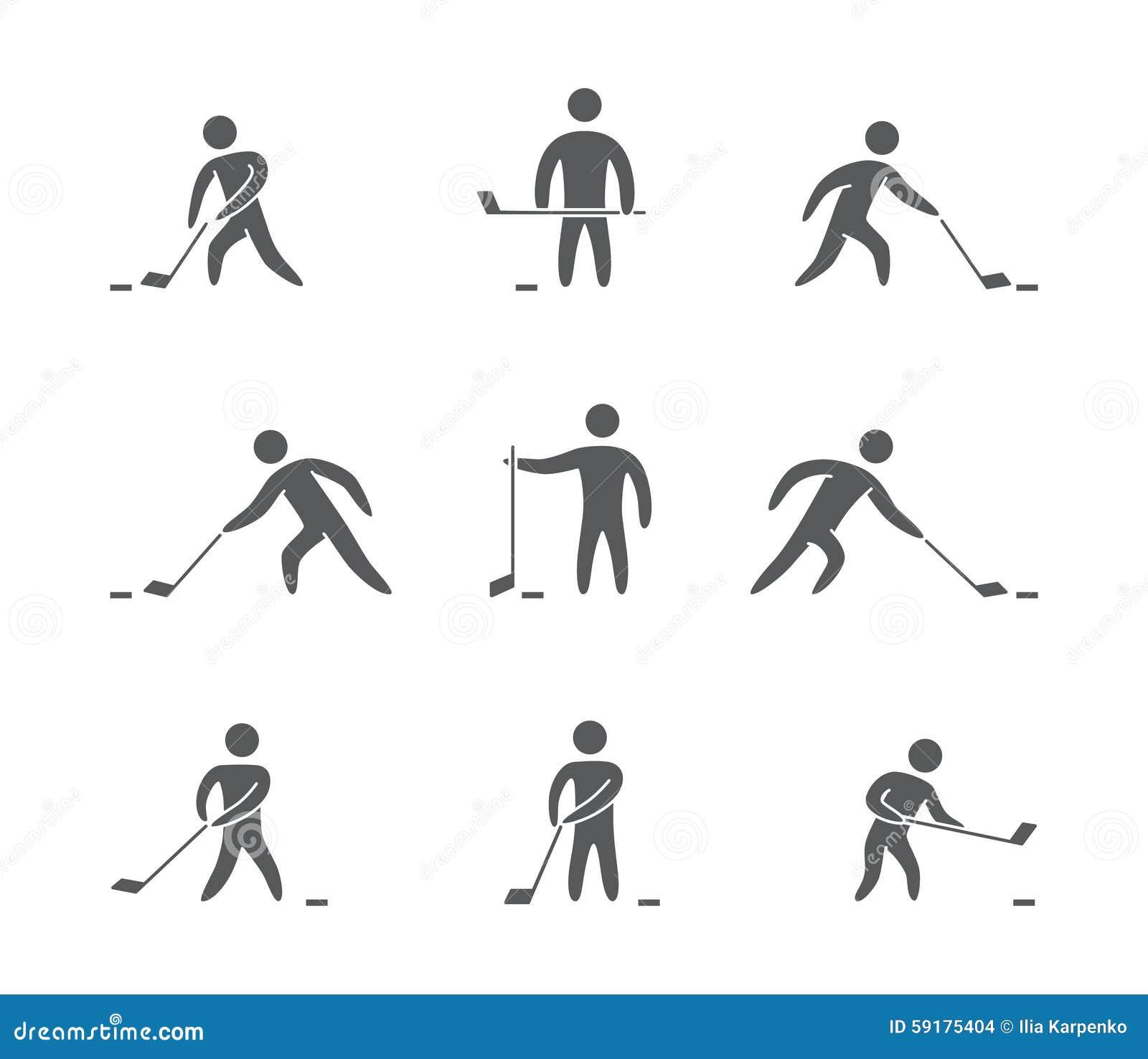 Sylwetki postaci gracz w hokeja ikony ustawiać