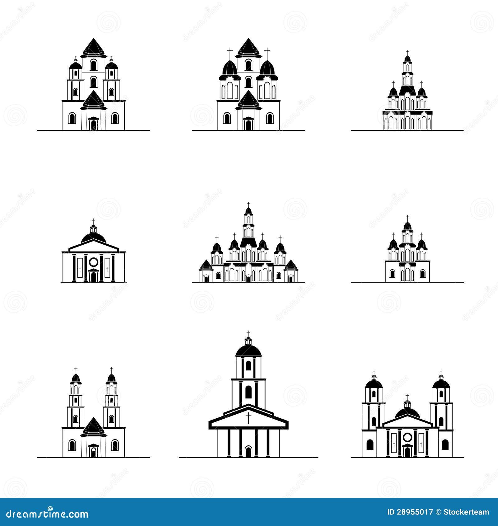 Sylwetki wiele różni kościół