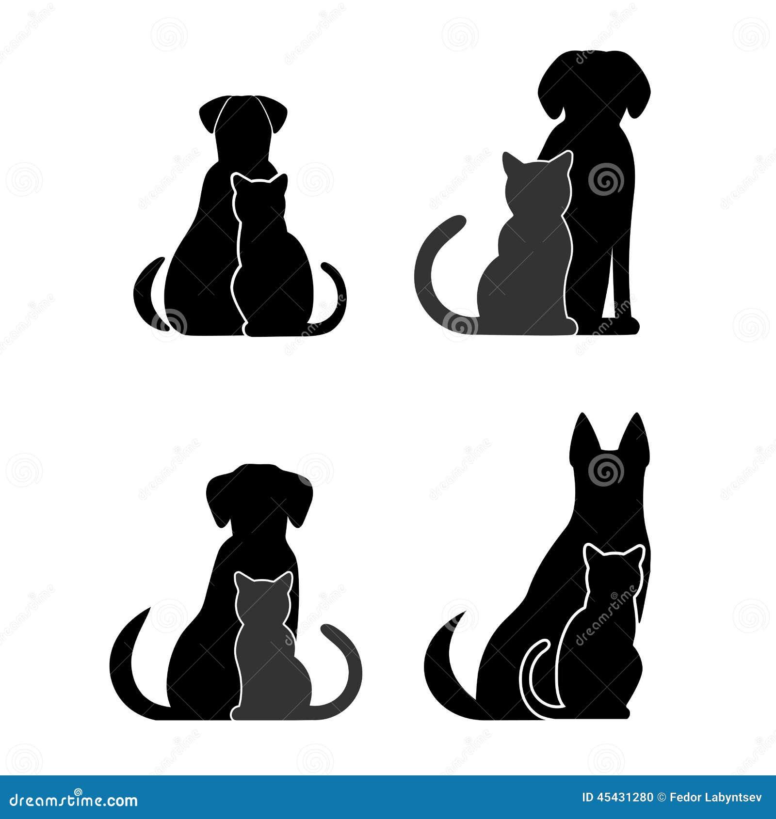 Sylwetki zwierzęta domowe, kot i pies,