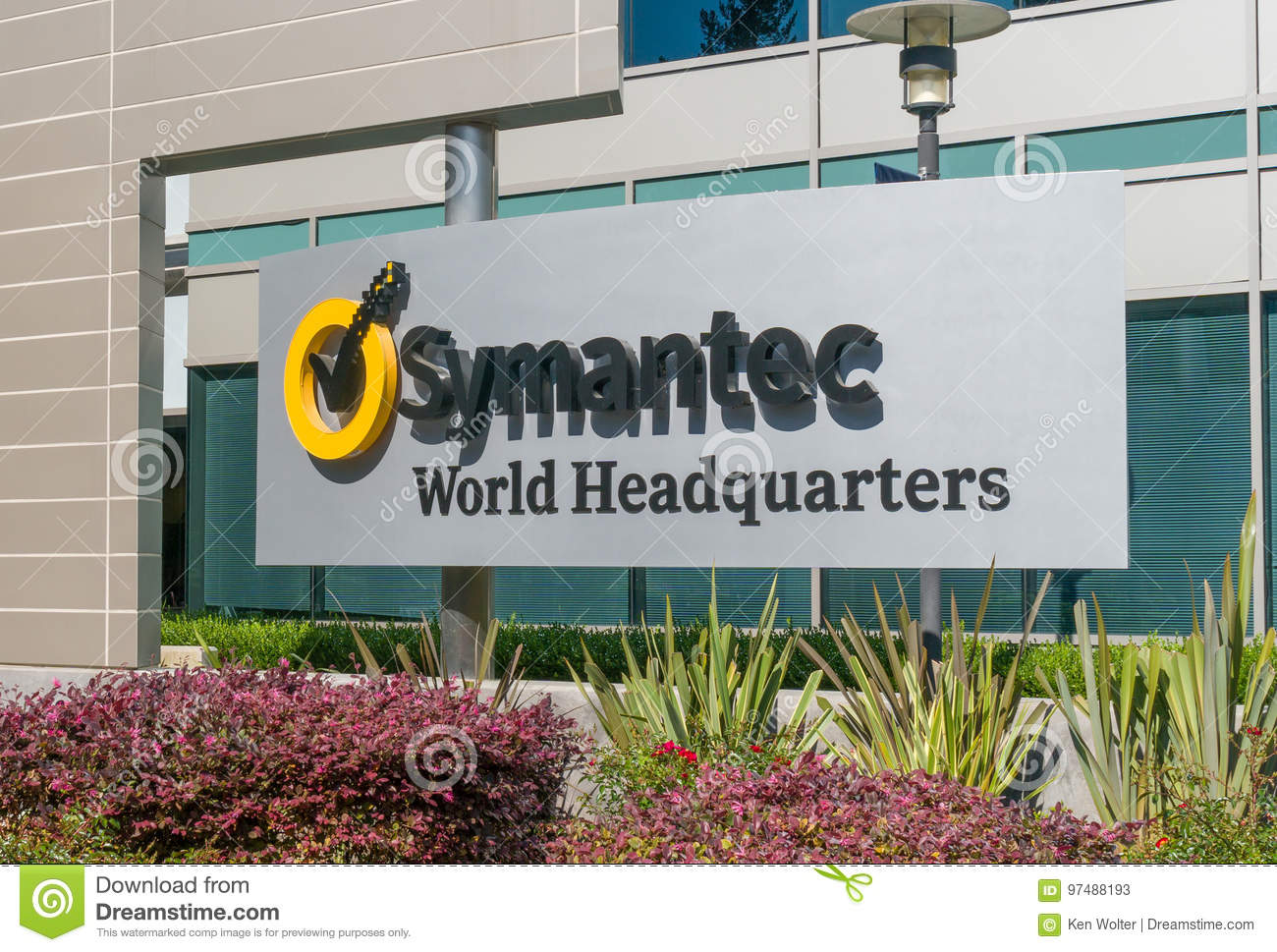 Symantec World Headquarters Building And Logo Editorial