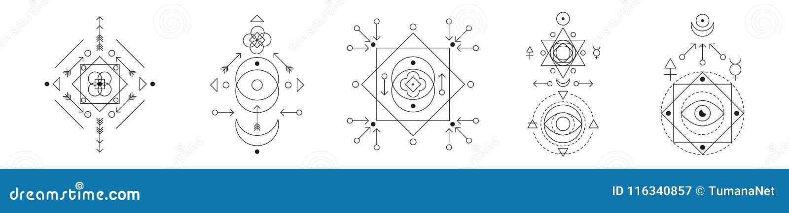 Symbol alchemia i święty geometria set Liniowego charakteru ilustracyjna kolekcja dla linia tatuażu na bielu