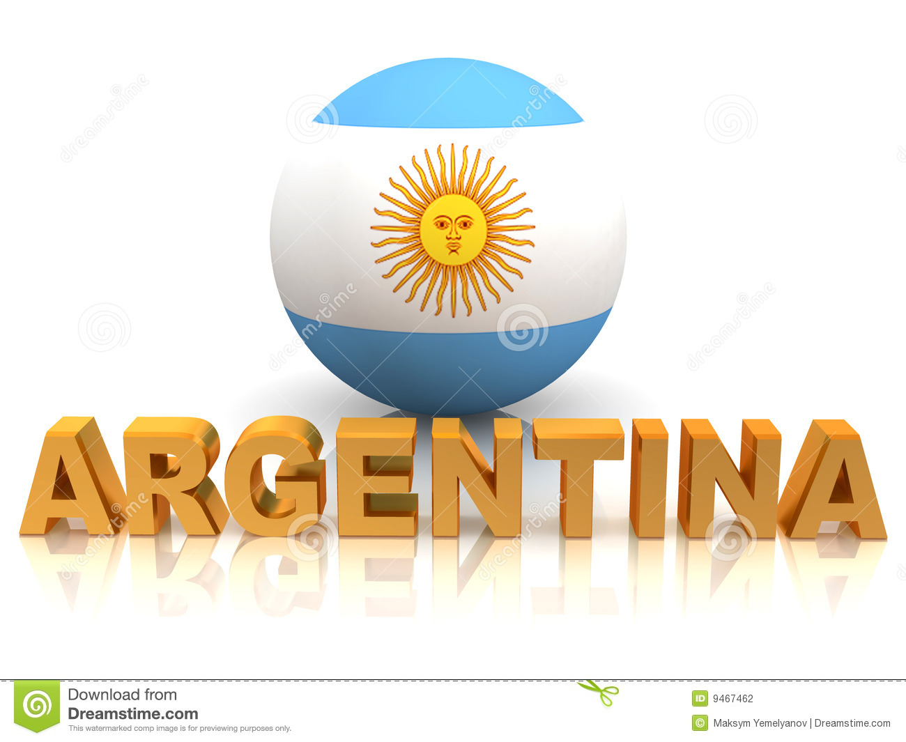 Symbol of Argentina  3d Very beautiful three-dimensional illustration Argentina Symbol