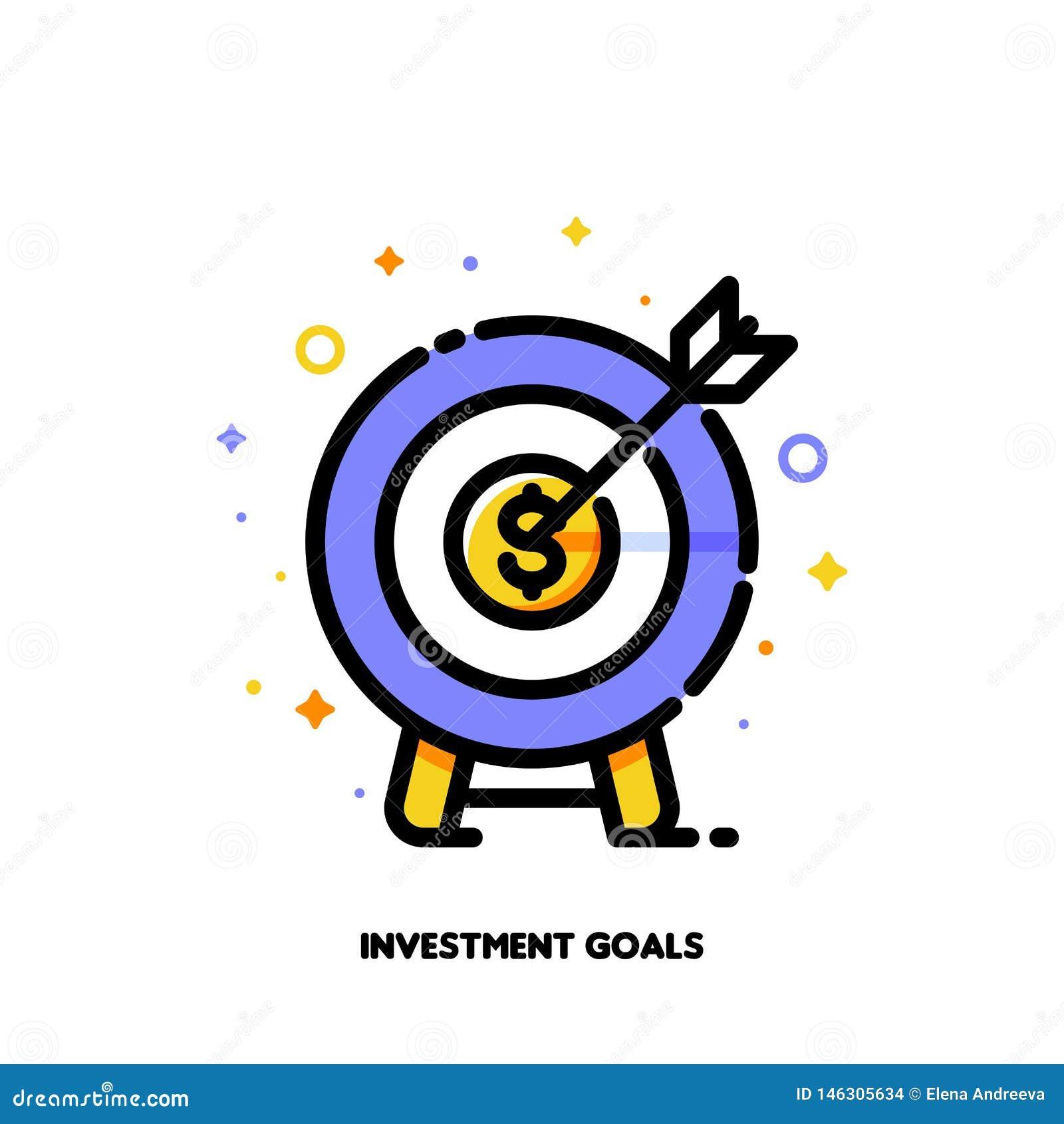 Symbol av darttavlan med pilen för affärsmål eller investeringmålbegrepp L?genhet fylld ?versiktsstil PIXEL perfekt 64x64