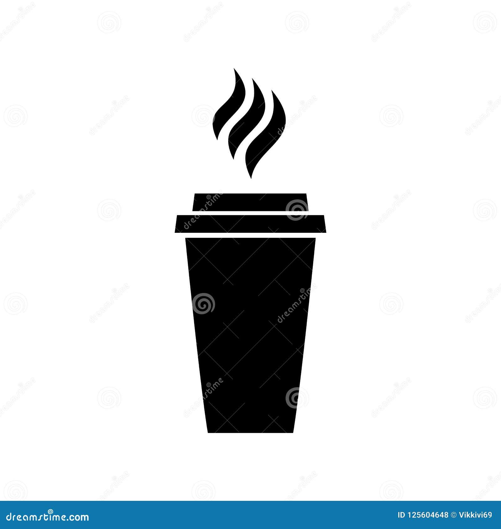 Symbol av kaffekafét som dricker logo för svart för latte för cappuccino för meny för drinkrestauranglunch på vit bakgrund
