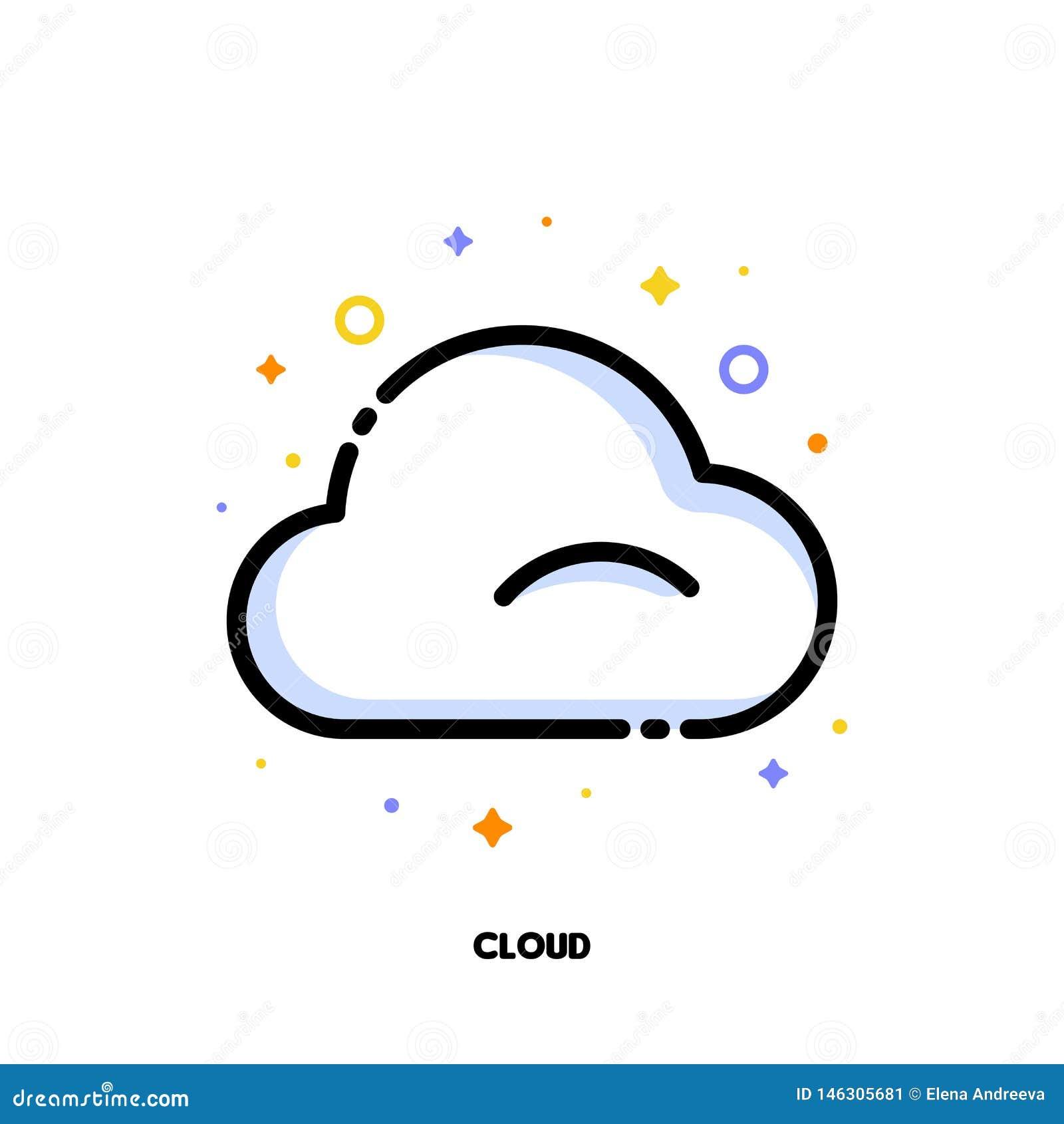 Symbol av molnet som symboliserar molnet som beräknar för SEO-begrepp L?genhet fylld ?versiktsstil PIXEL perfekt 64x64