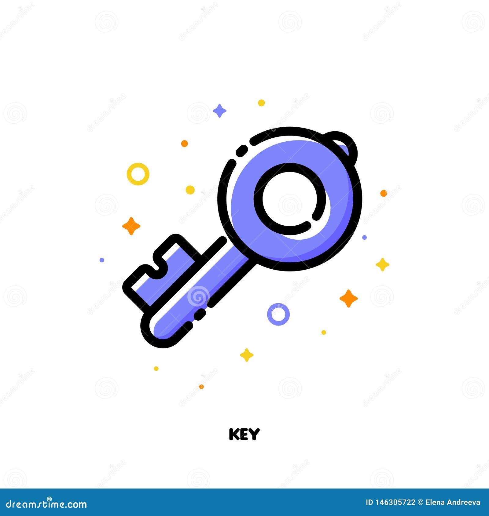 Symbol av tangenten som symboliserar starka lösenord eller nyckelord för SEO-begrepp L?genhet fylld ?versiktsstil PIXEL perfekt 6