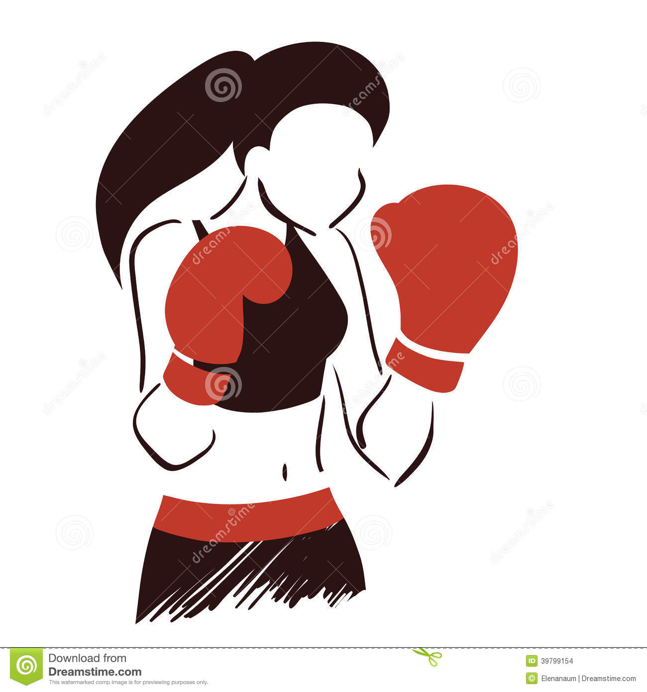 symbol of boxing woman stock vector   image 39799154