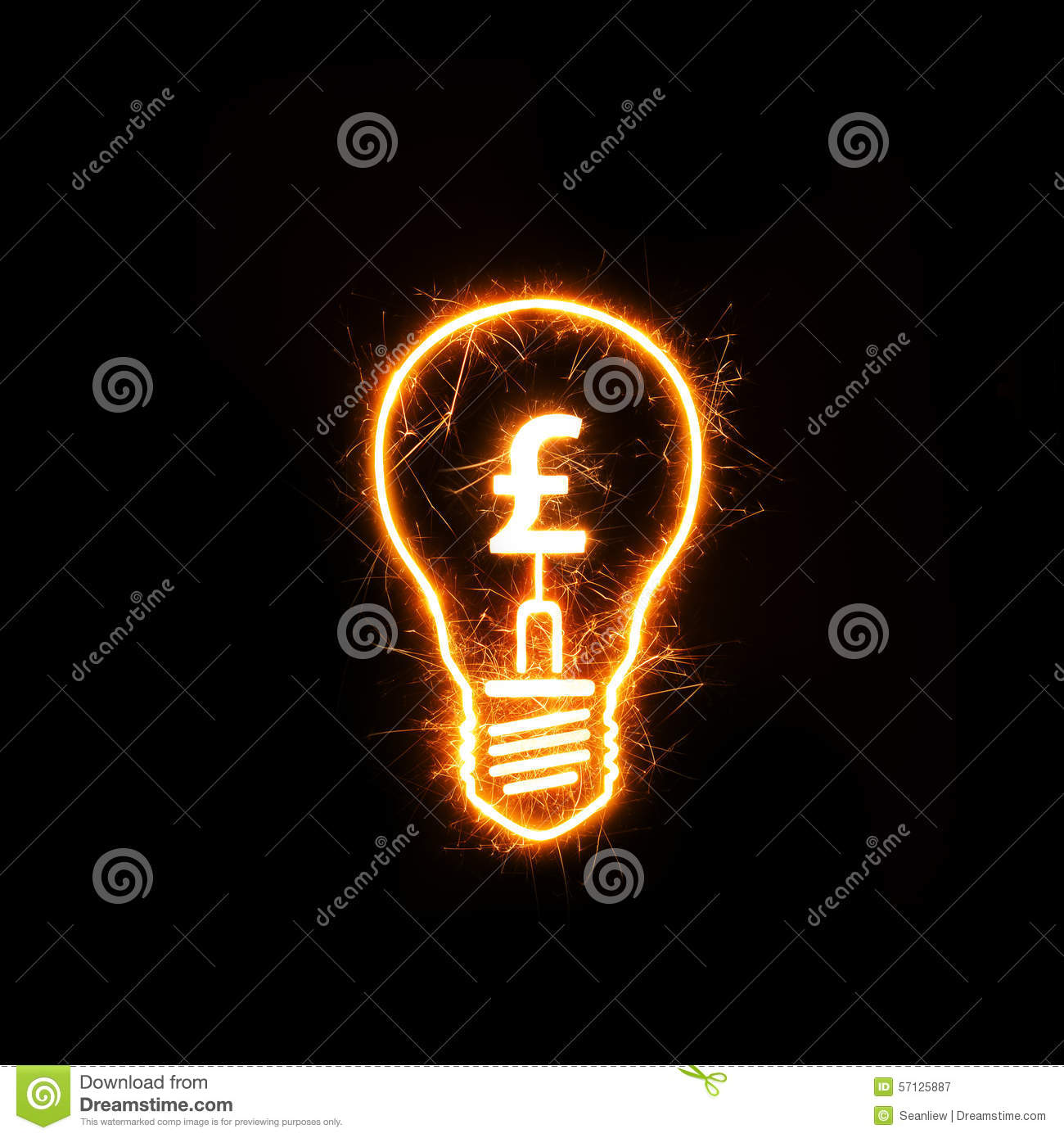 Symbol of british currency pound inside a sparkling bulb stock symbol of british currency pound inside a sparkling bulb biocorpaavc Images