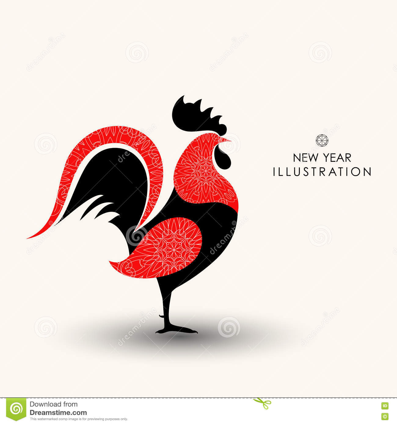 Chinese Calendar Illustration : Symbol of on the chinese calendar vector rooster