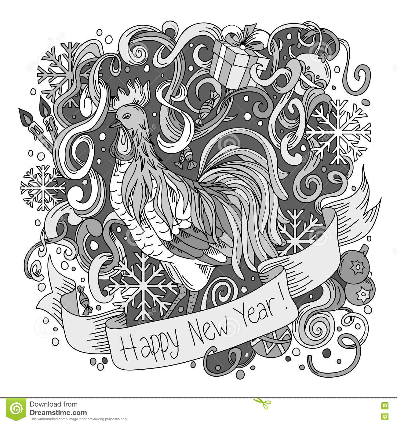 Line Art Year : Symbol of chinese new year rooster sketch cartoon cute