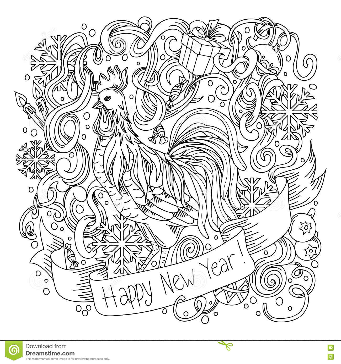 Symbol of chinese new year rooster sketch cartoon cute hand drawn symbol of chinese new year rooster sketch cartoon cute hand drawn doodle happy new year illustration biocorpaavc