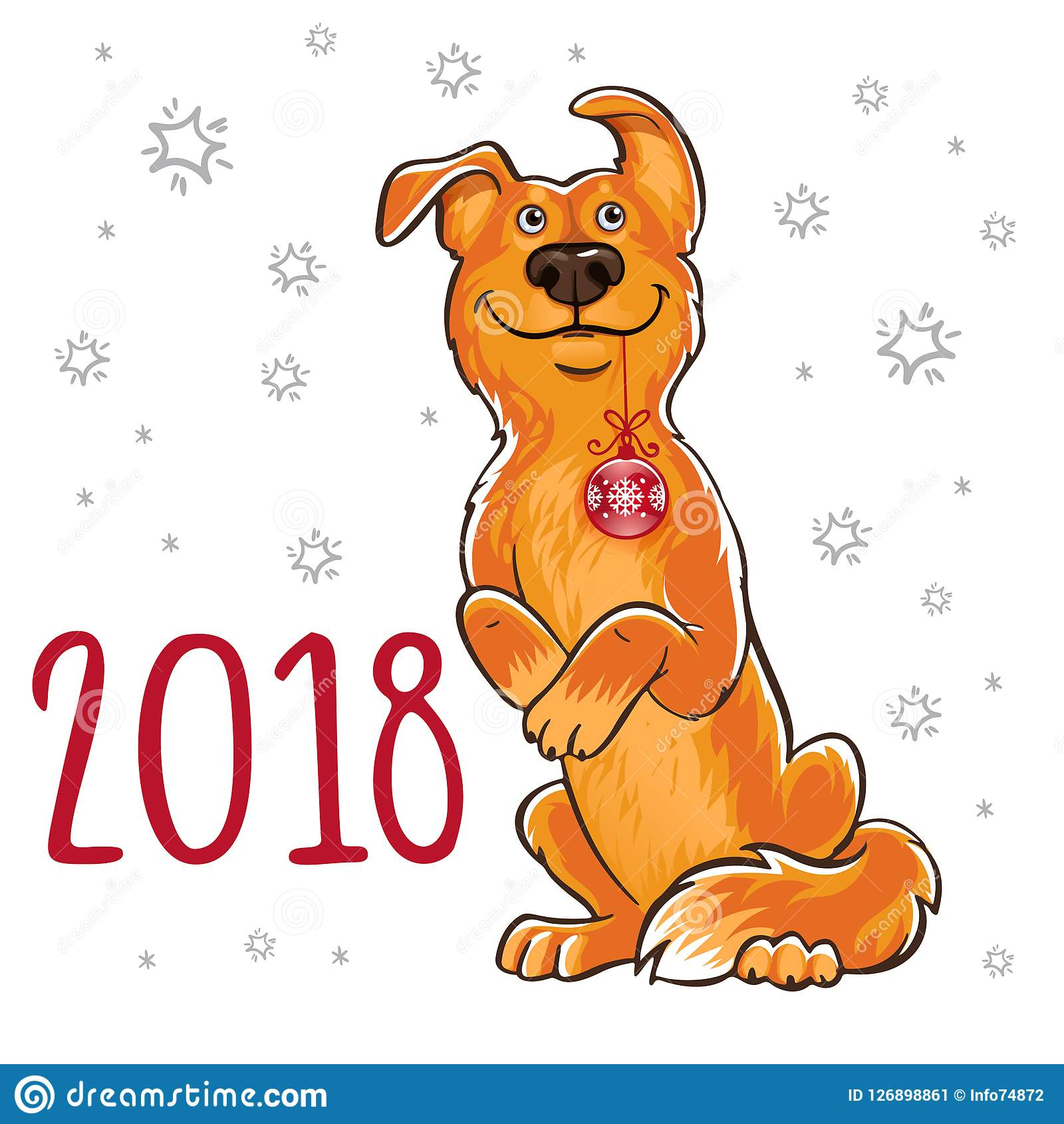 Symbol of the Chinese New Year 2018. Year of the dog. Design for