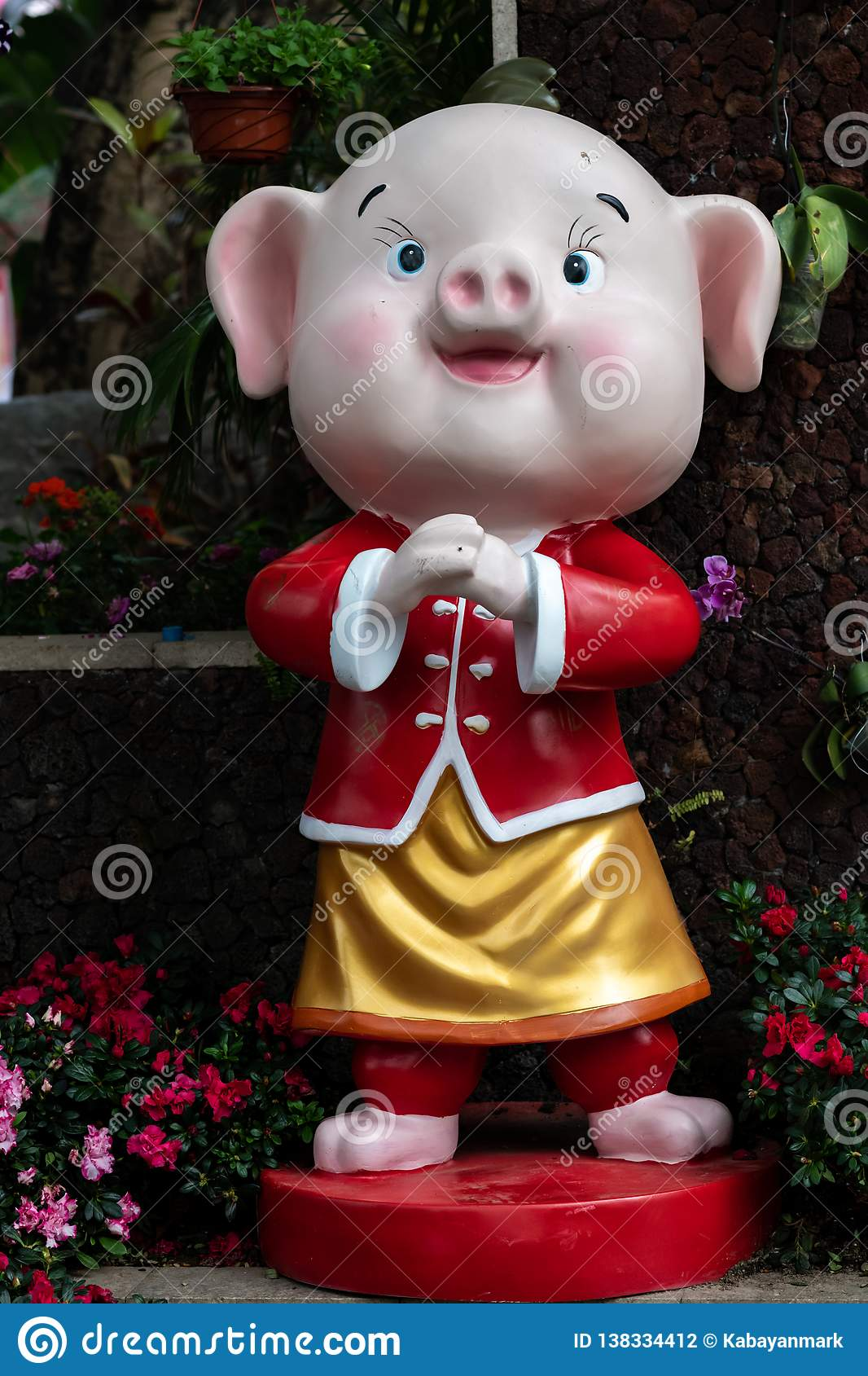 Year of the pig, Chinese New year 2019 lantern outdoor happy figure