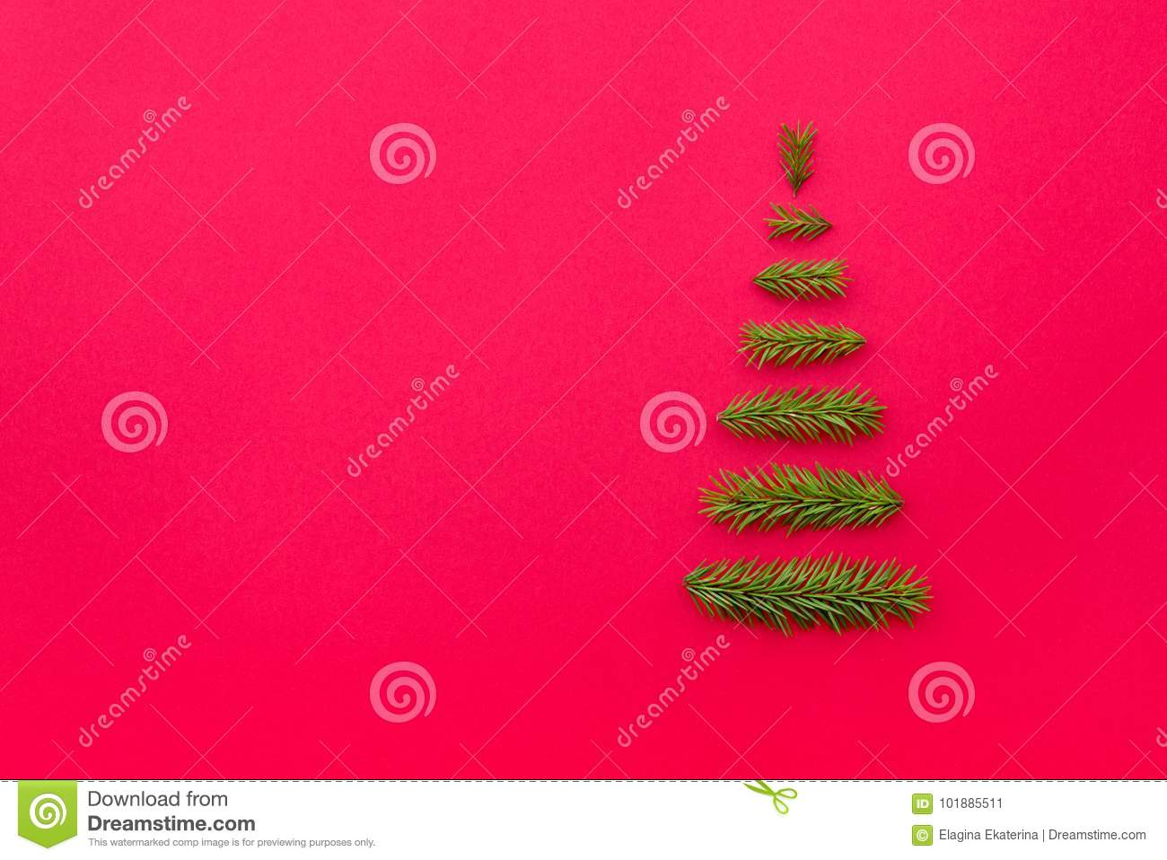 Symbol Christmas Tree From A Fir Branches On Red Background Cop