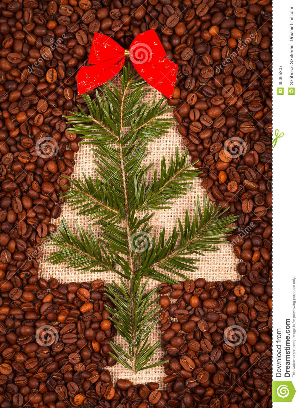Symbol Of Christmas Tree With Juniper Leaves Stock Photo 35365807
