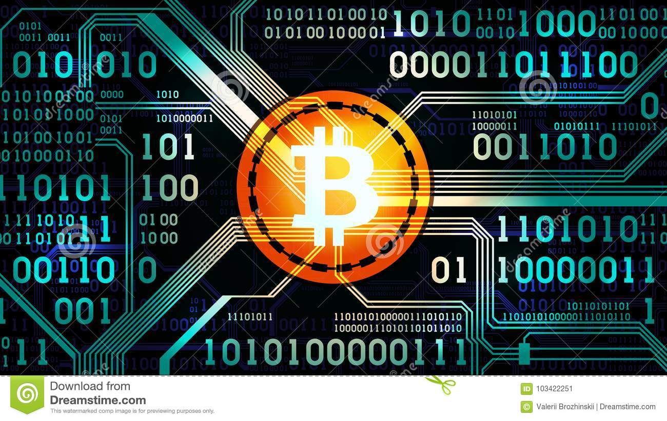 Symbol Of Crypto Currency Bitcoin On The Background Binary Code Circuit Board And Printed