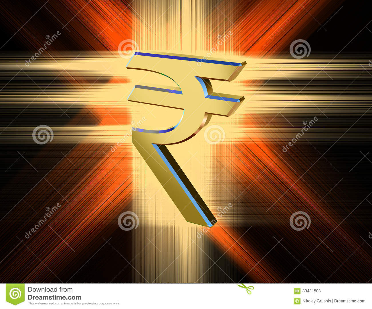 Symbol Currency Of The Indian Rupee Stock Illustration