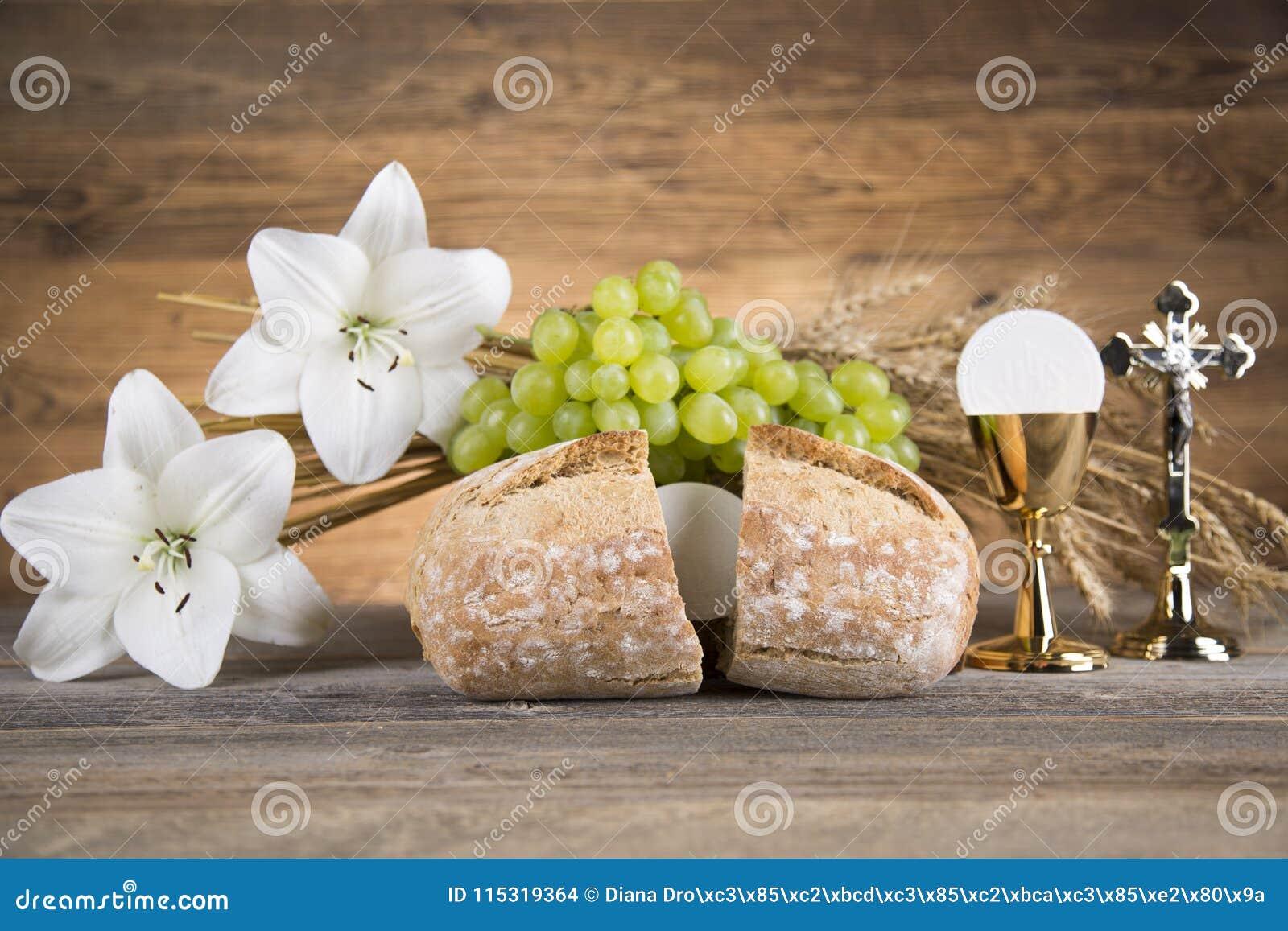 Symbol des heiligen Abendmahl des Brotes und des Weins, des Messkelches und des Wirtes, erster comm