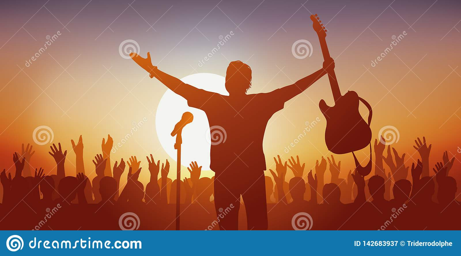 Symbol des Idols, wenn ein Rocksänger seine Fans grüßt