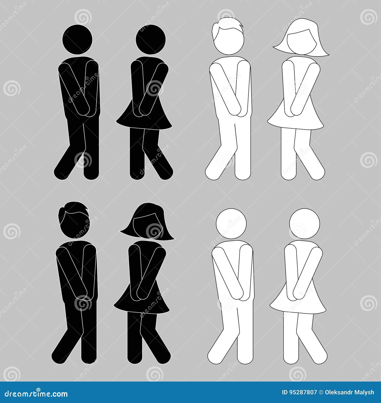 Symbol des Mannes, Frau, Junge, Mädchen Jungen- und Mädchentoilettenikonen
