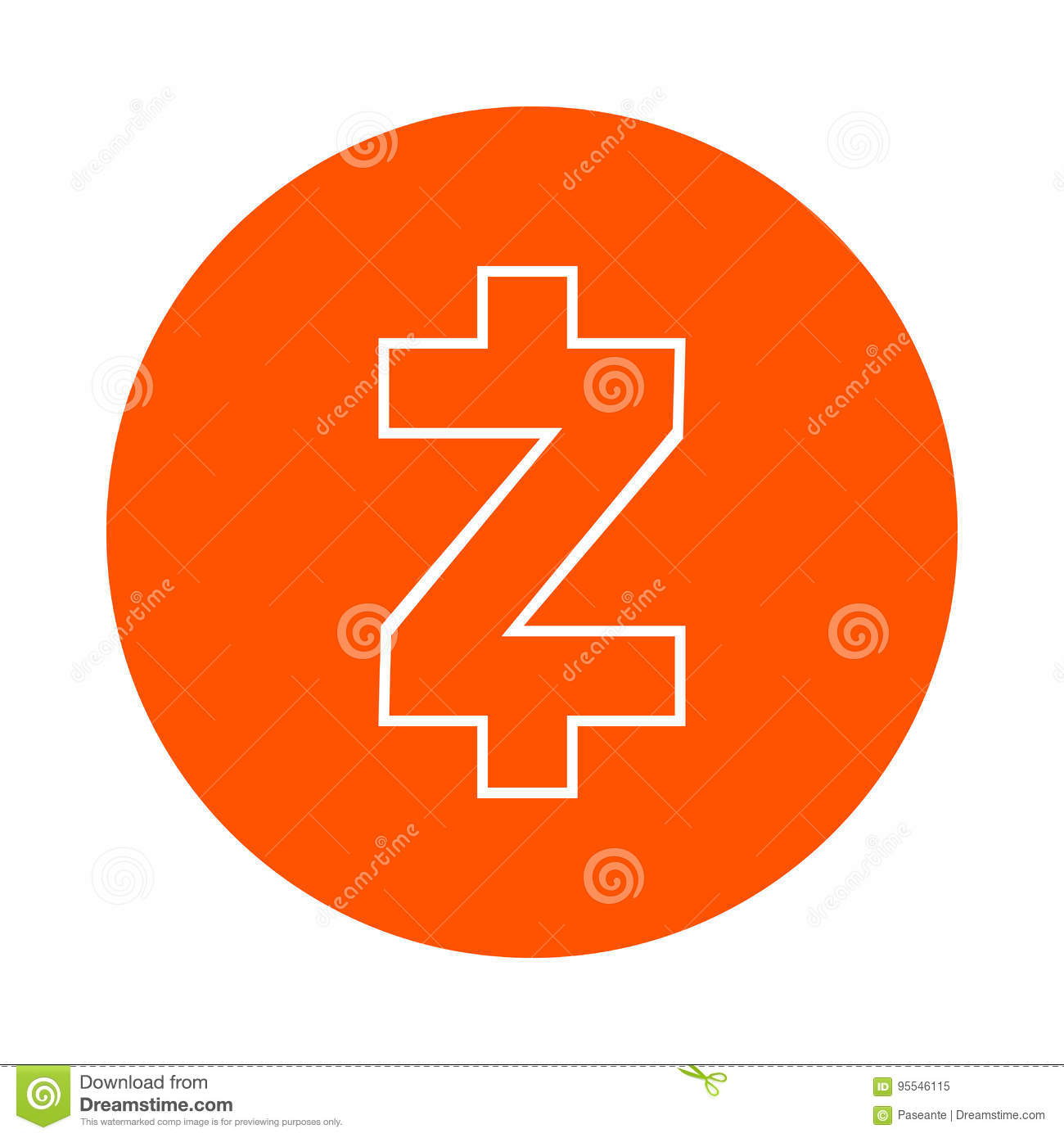 Download Symbol Of The Digital Crypto Currency Zcash Monochrome Round Linear Icon Flat Style
