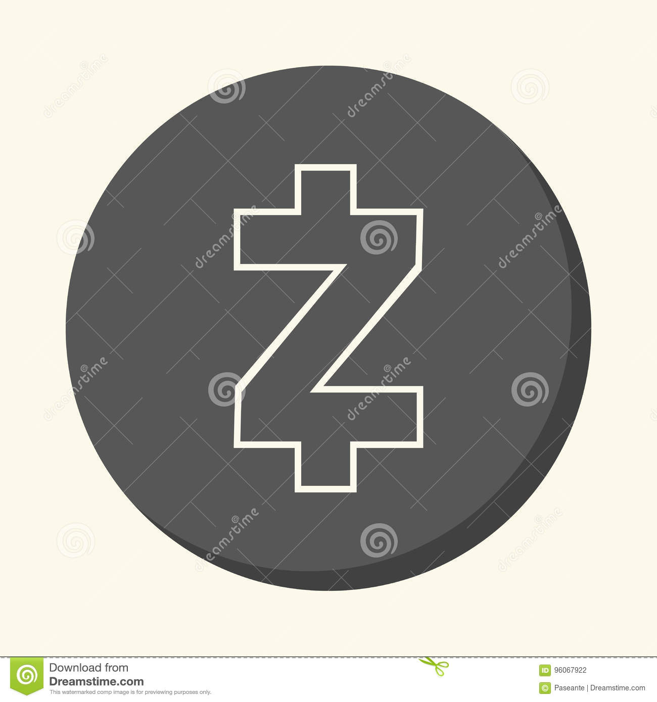 Download Symbol Of Digital Crypto Currency Zcash Round Linear Icon With Illusion Volume