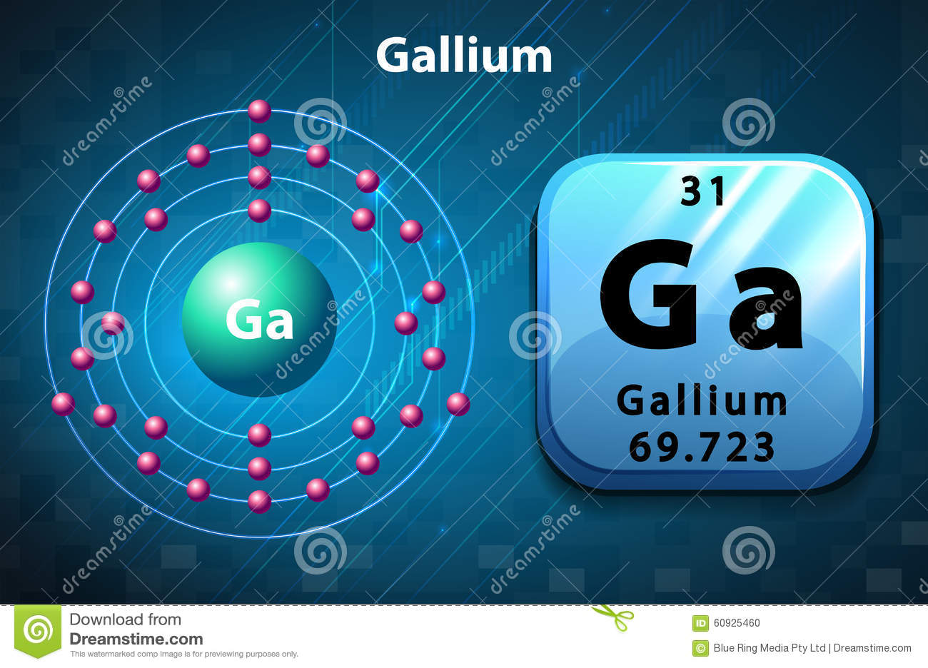Symbol And Electron Diagram For Gallium Stock Vector