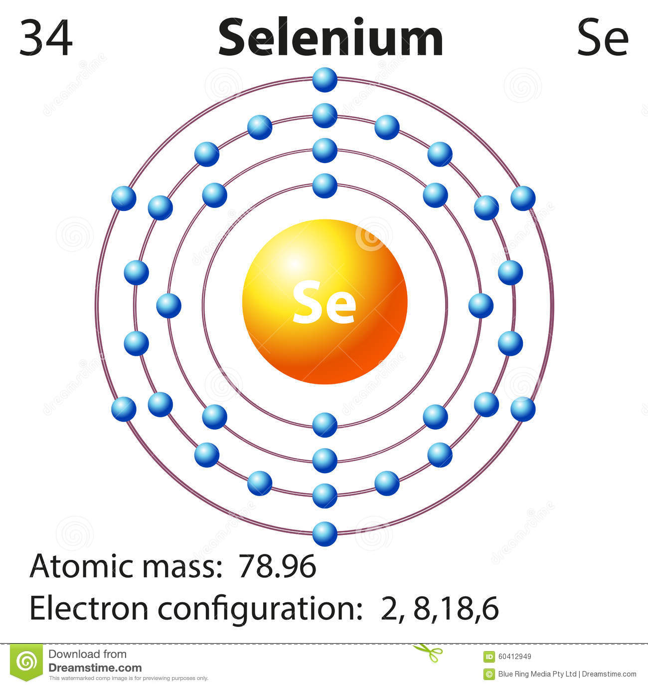 Symbol And Electron Diagram For Selenium Stock