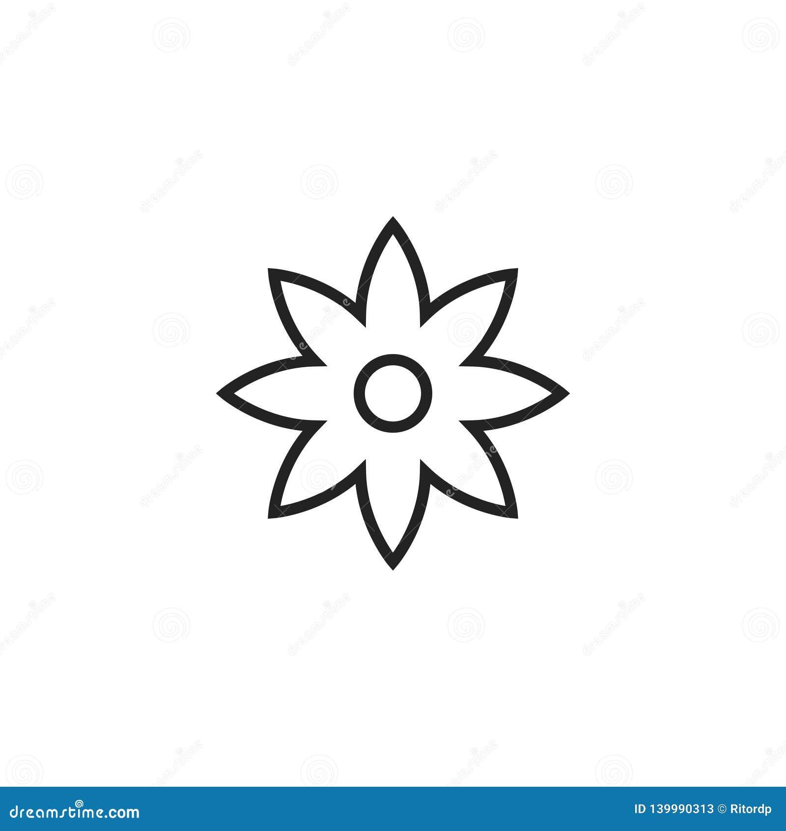 Symbol, symbol eller logo för blommaöversiktsvektor