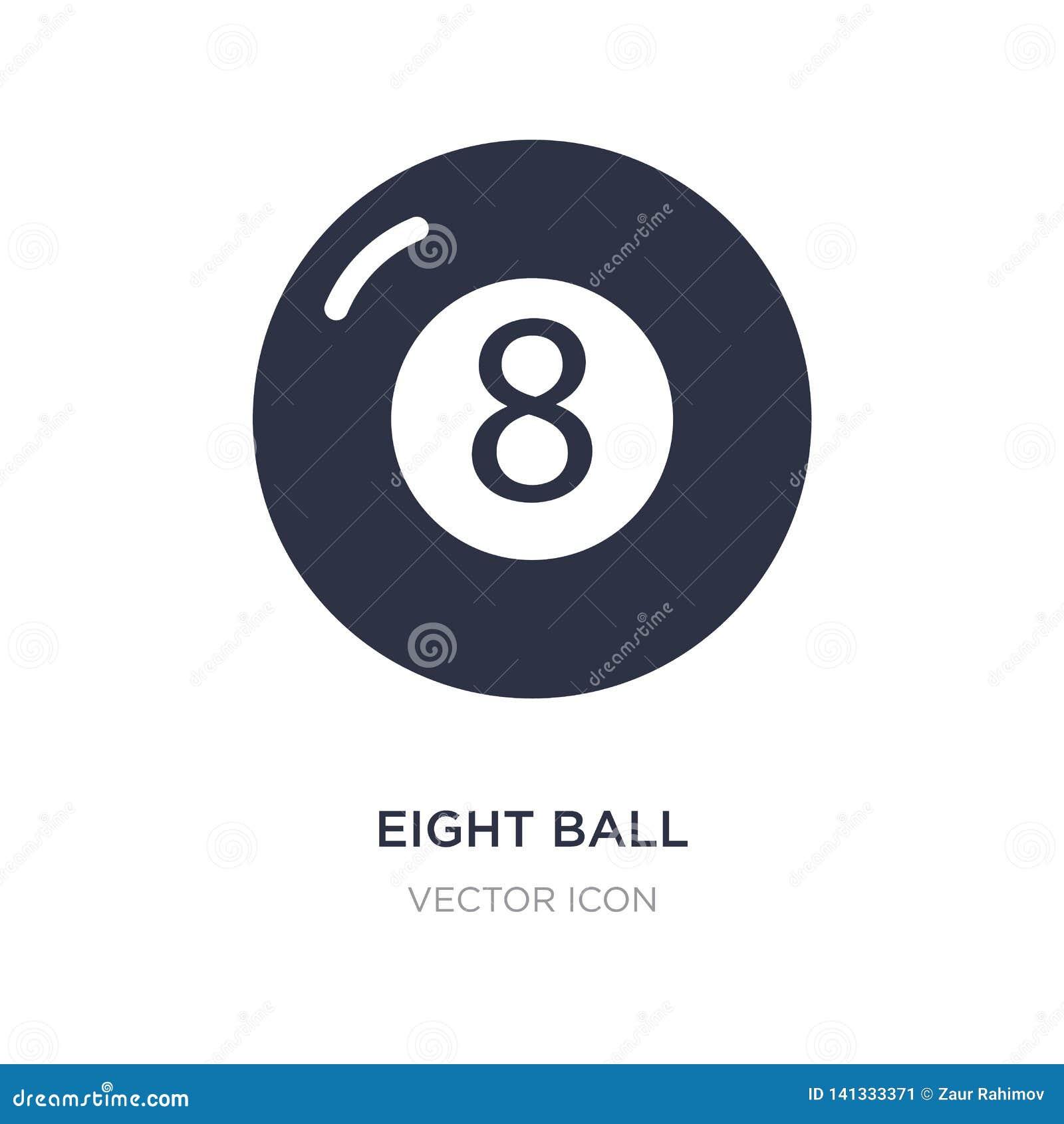 Symbol för åtta boll på vit bakgrund Enkel beståndsdelillustration från underhållning och galleribegrepp