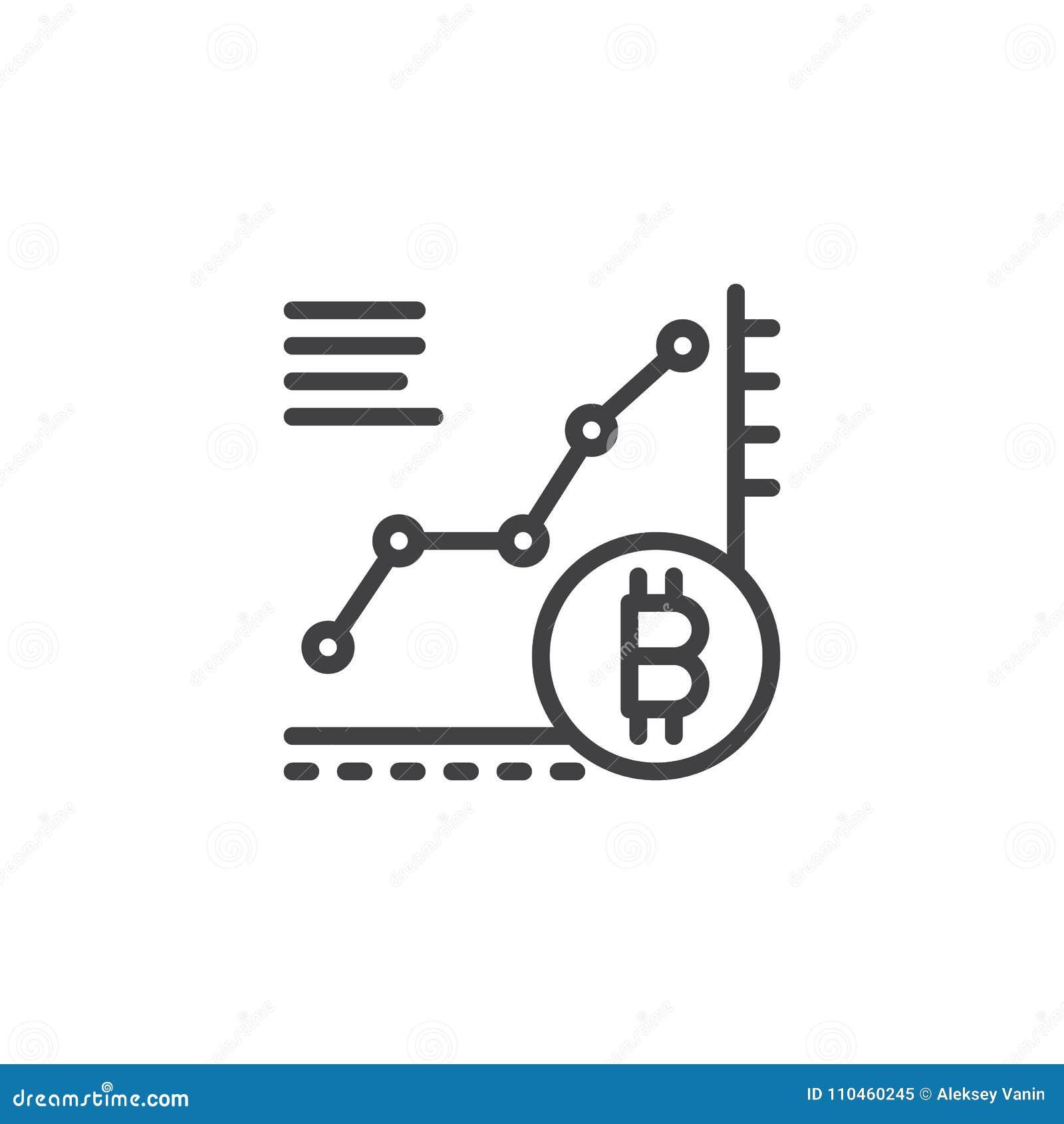 Symbol för översikt för Bitcoin tillväxtdiagram