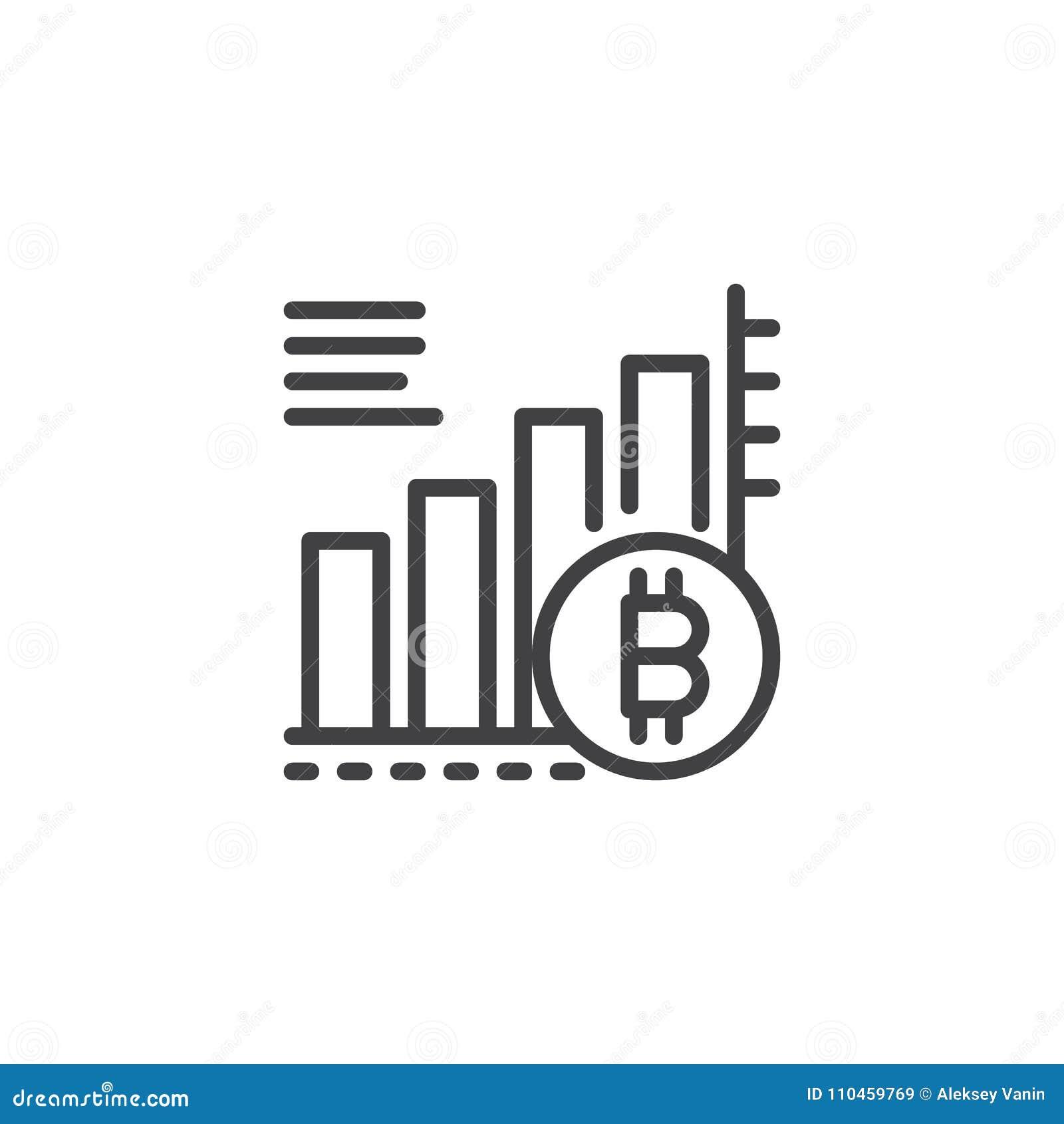 Symbol för översikt för Bitcoin växande grafdiagram