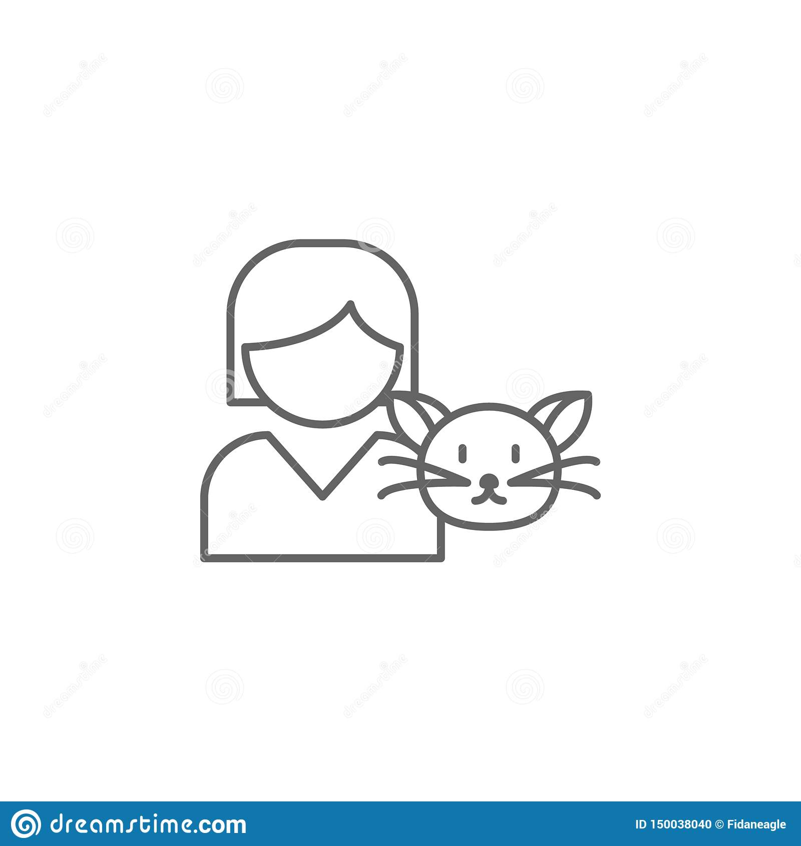 Symbol för översikt för flickakattkamratskap Beståndsdelar av kamratskaplinjen symbol Tecknet, symboler och vektorer kan användas