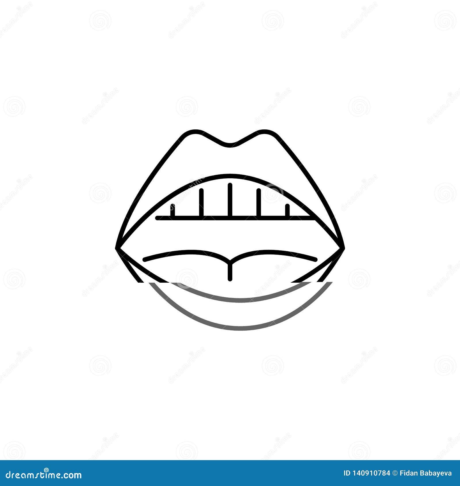 Symbol för översikt för mun för mänskligt organ öppen Tecknet och symboler kan användas för rengöringsduken, logoen, den mobila a