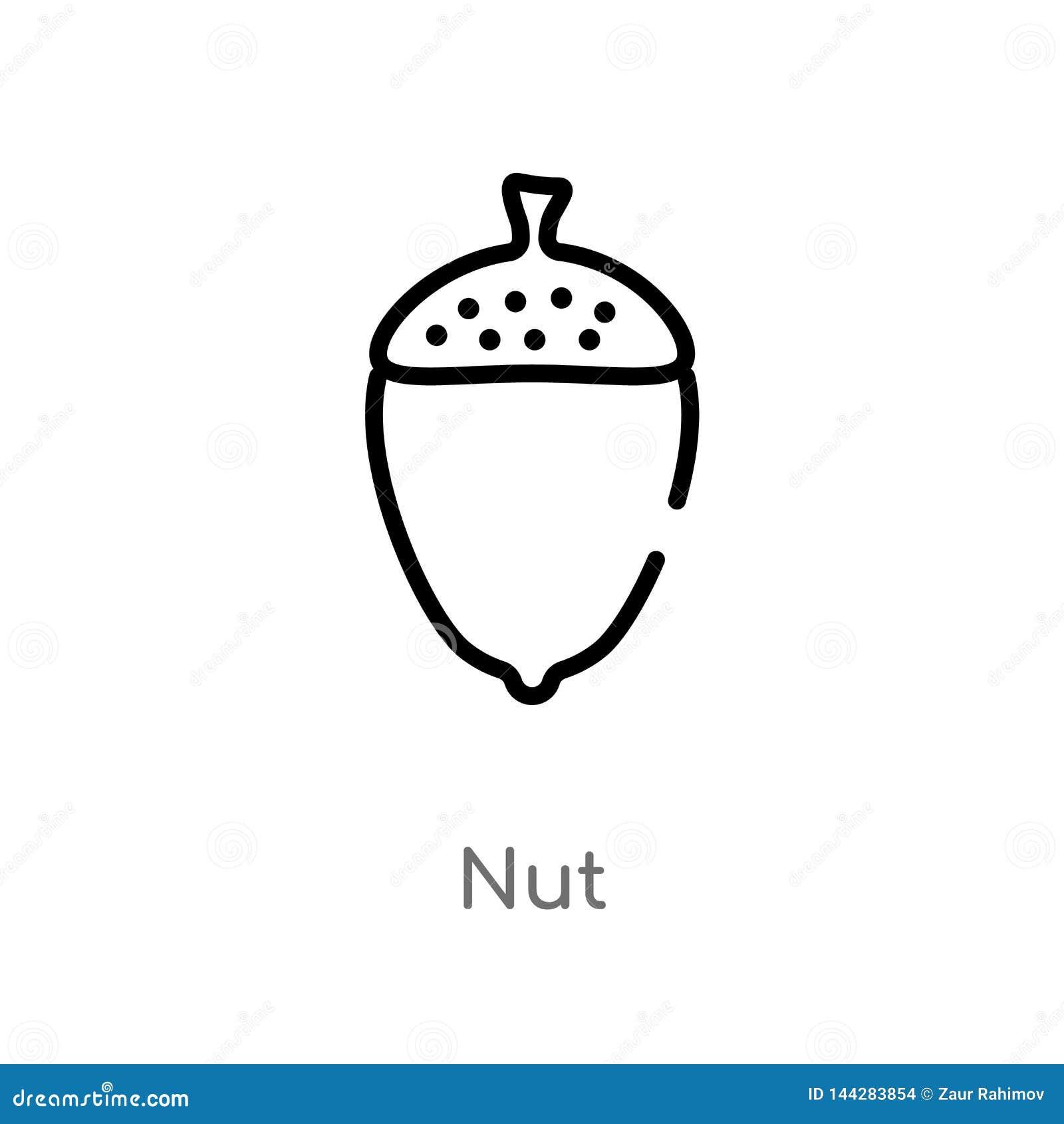 Symbol för översiktsmuttervektor isolerad svart enkel linje beståndsdelillustration från gastronomibegrepp redigerbar symbol för