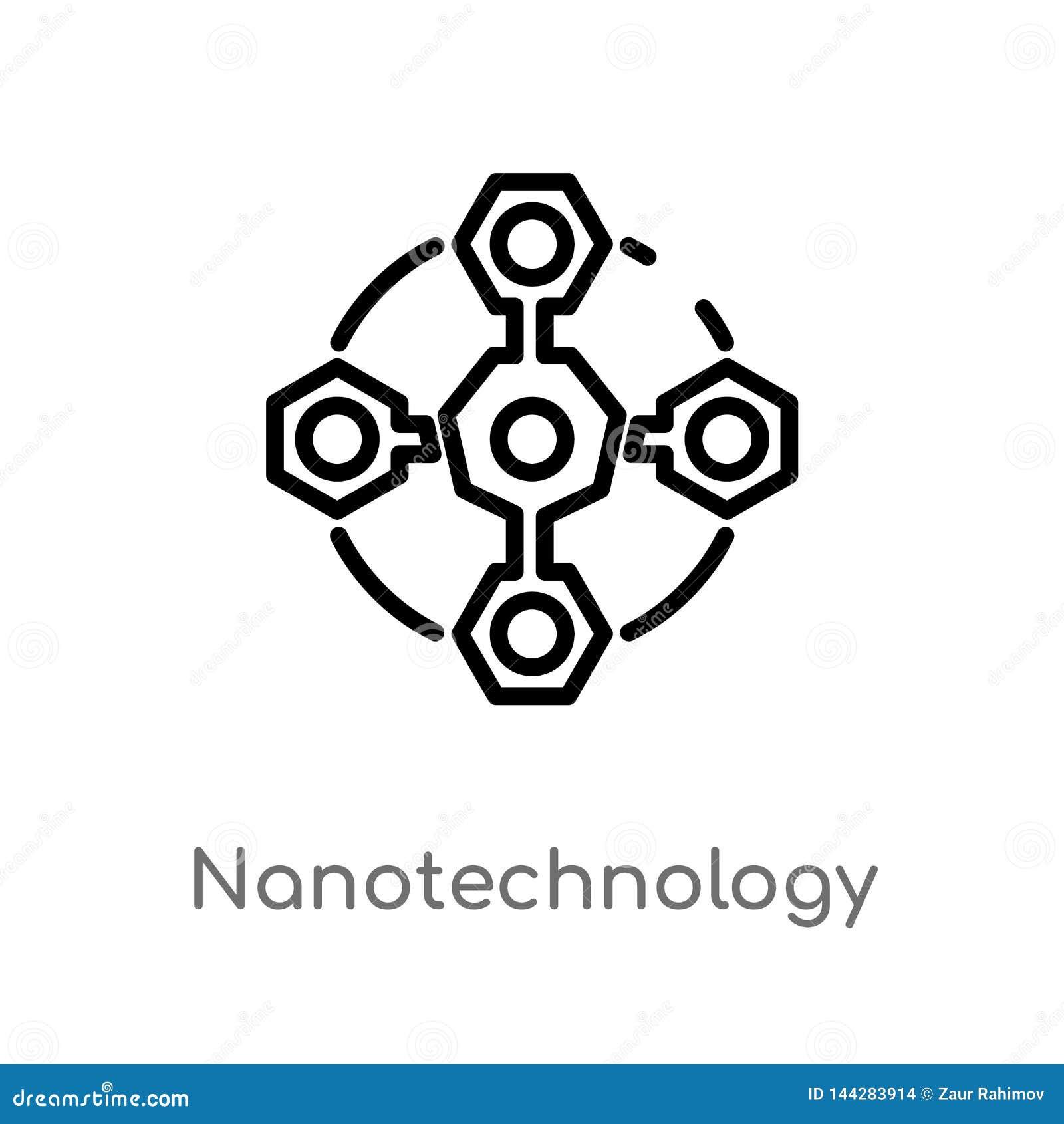 Symbol för översiktsnanoteknikvektor isolerad svart enkel linje beståndsdelillustration från det framtida teknologibegreppet redi