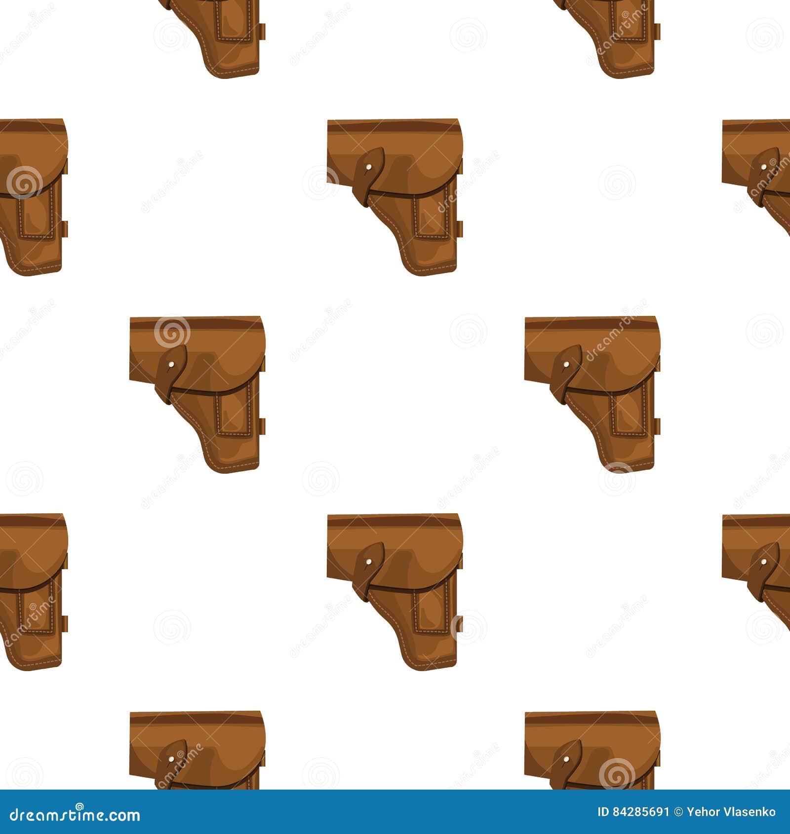 Symbol för arméhandeldvapenpistolhölster i tecknad filmstil som isoleras på vit bakgrund Militär- och armémodellmaterielvektor