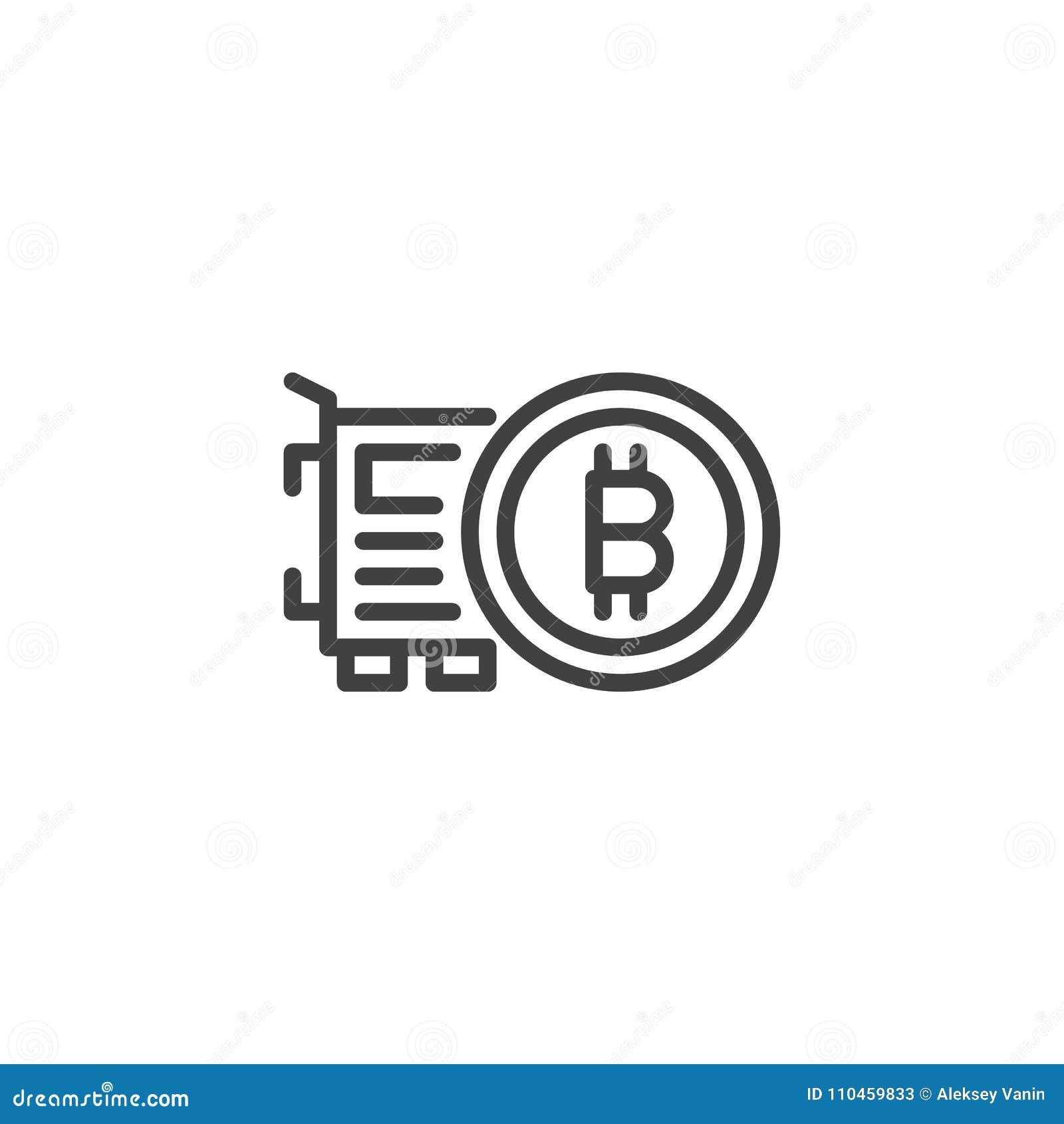 Symbol för Bitcoin och VGA kortöversikt