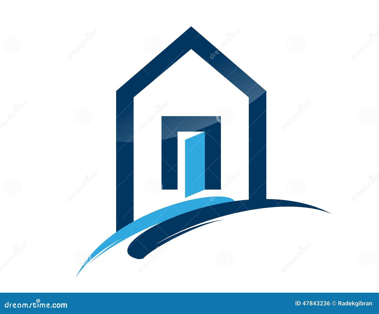 Symbol för byggnad för löneförhöjning för blått för symbol för huslogofastighet