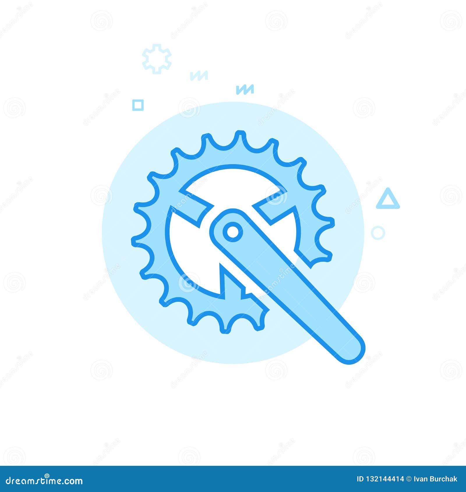 Symbol för cykel- eller cykelChainring plan vektor, symbol, Pictogram, tecken Blå monokrom design Redigerbar slaglängd