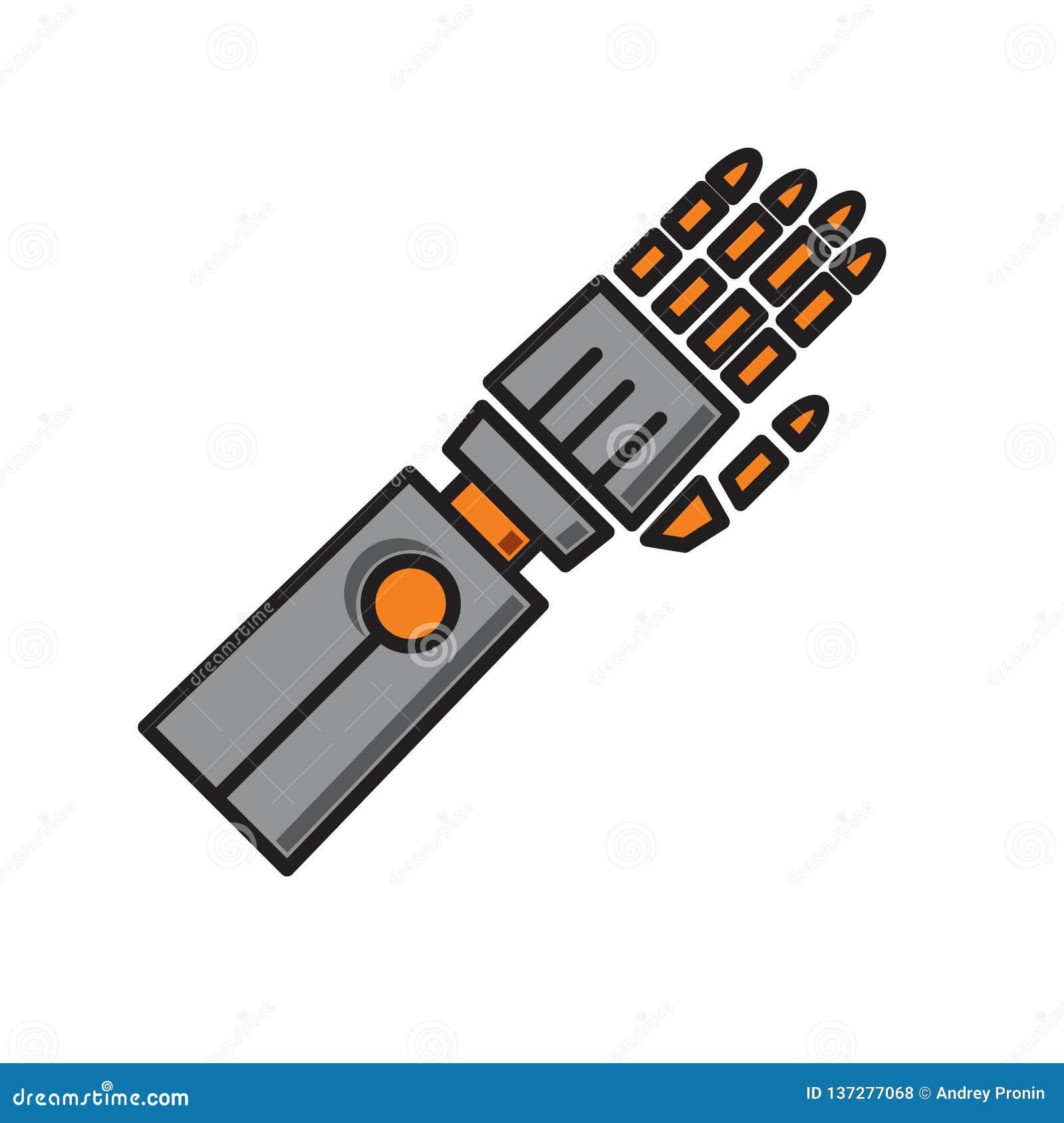Symbol för Droid armprotes på vit bakgrund för diagrammet och rengöringsdukdesignen, modernt enkelt vektortecken för färgbegrepp