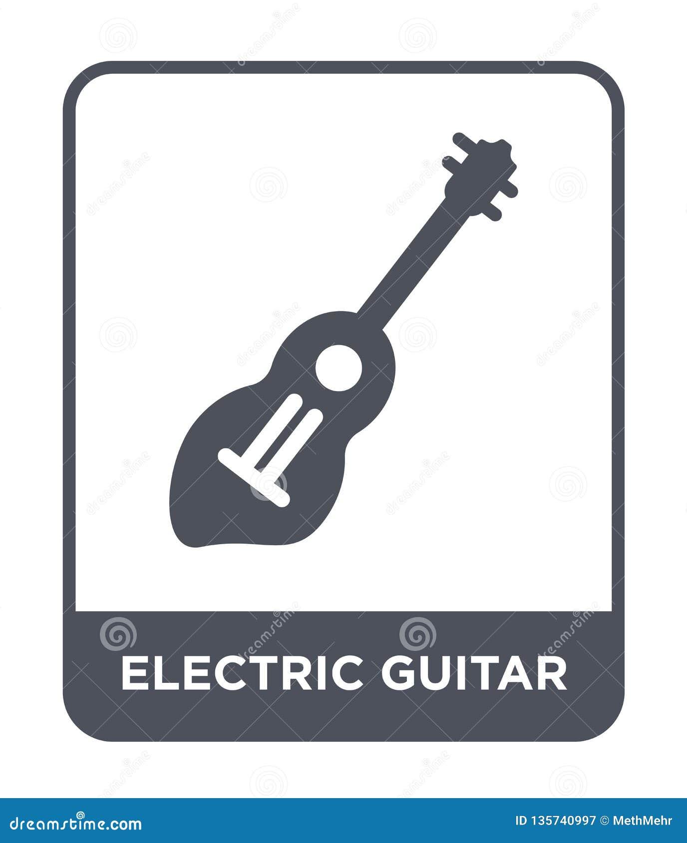 Symbol för elektrisk gitarr i moderiktig designstil Symbol för elektrisk gitarr som isoleras på vit bakgrund enkel vektorsymbol f